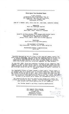 Draft of Once Upon 200 Years Program; Jan. 29, 2000