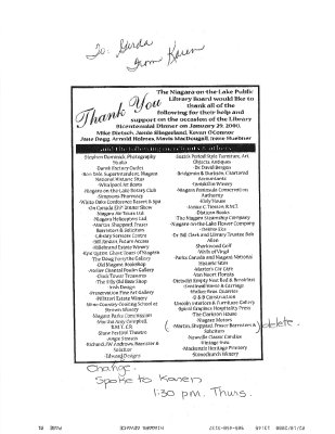 List of merchants & others that that supported the Bicentennial Dinner; Feb. 10, 2000