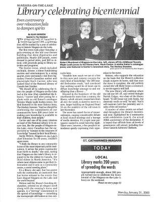Library celebrating bicentennial, Jan, 31, 2000