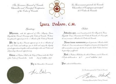 Order of Canada - Laura Dodson, C.M.