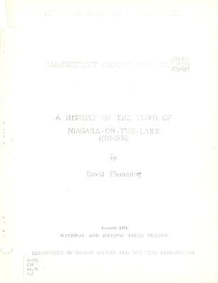 A History of the Town of Niagara-on-the-Lake (1791-1970)