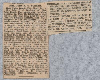 Obituary of Mrs. John H. C. Durham