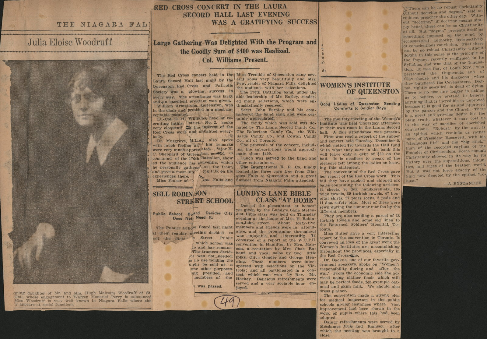 Activities of Women's Institute in Queenston during the First World War.