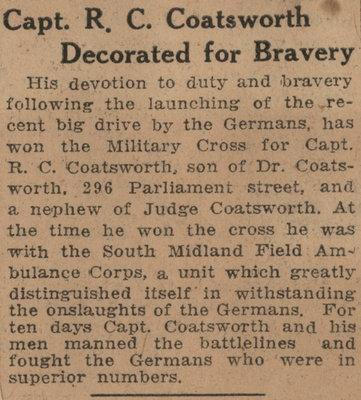 Capt. R. C. Coatsworth Decorated for Bravery