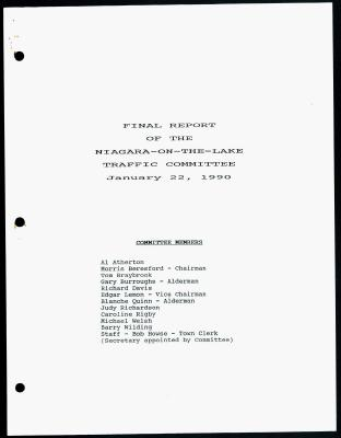Final Report of the Niagara-On-The-Lake Traffic Committee - January 22, 1990