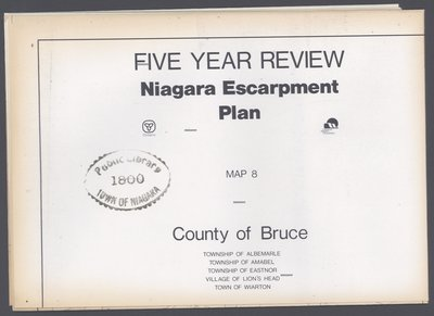 Niagara Escarpment Plan: County of Bruce, 1991 (Map 8)