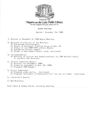 1988 Library Board Minutes