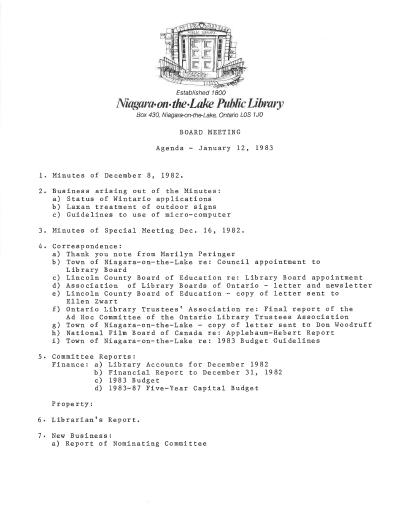 1983 Library Board Minutes