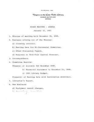 1981 Library Board Minutes