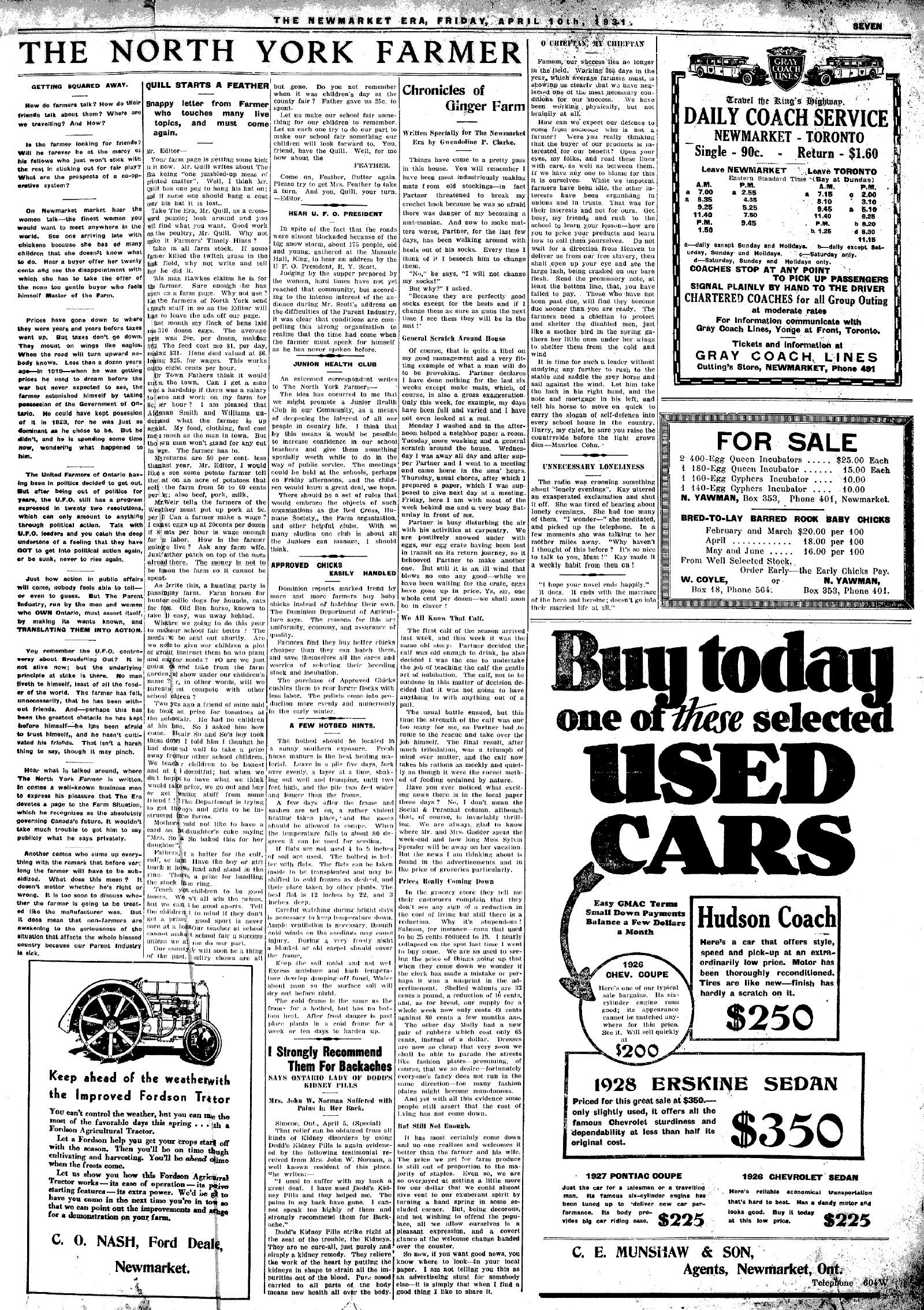 Newmarket Era (Newmarket, ON1861), 10 Apr 1931
