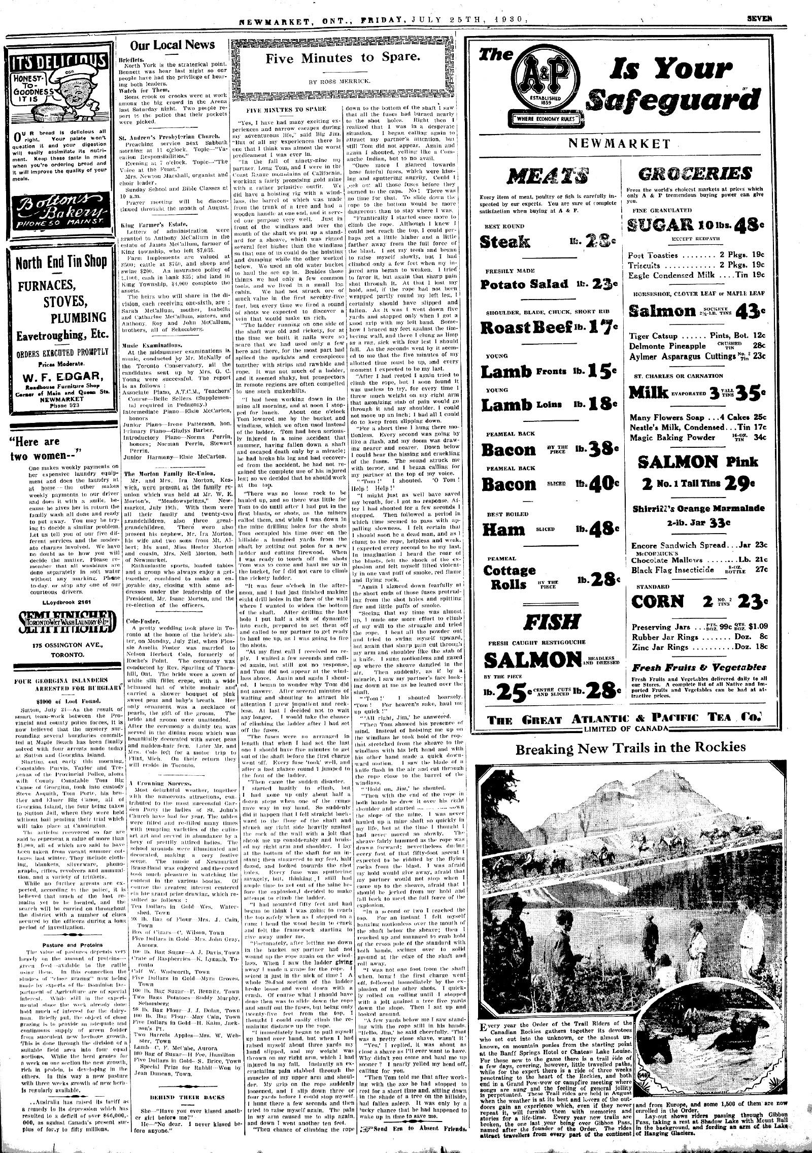 Newmarket Era (Newmarket, ON1861), 25 Jul 1930