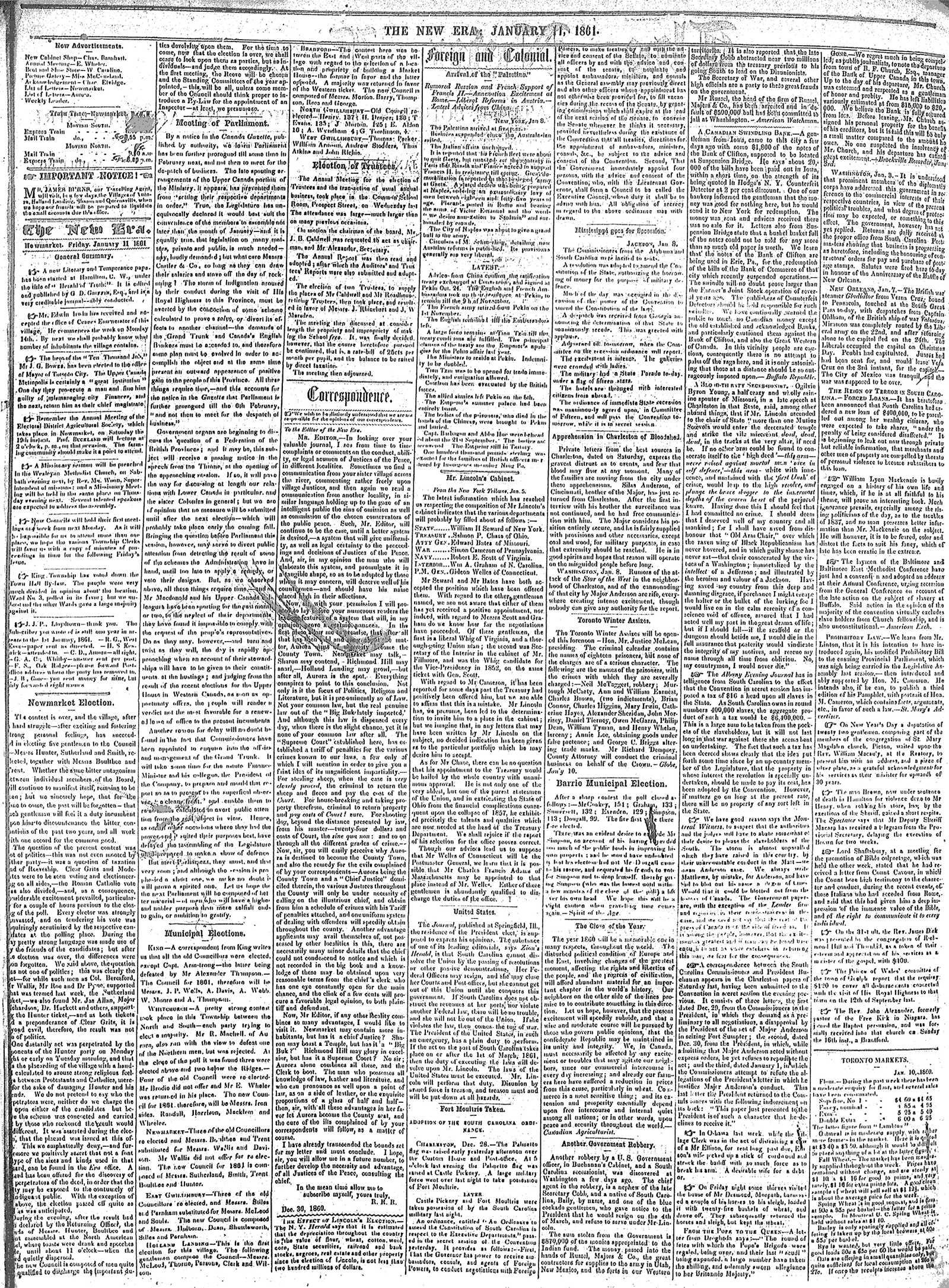New Era (Newmarket, ON), January 11, 1861