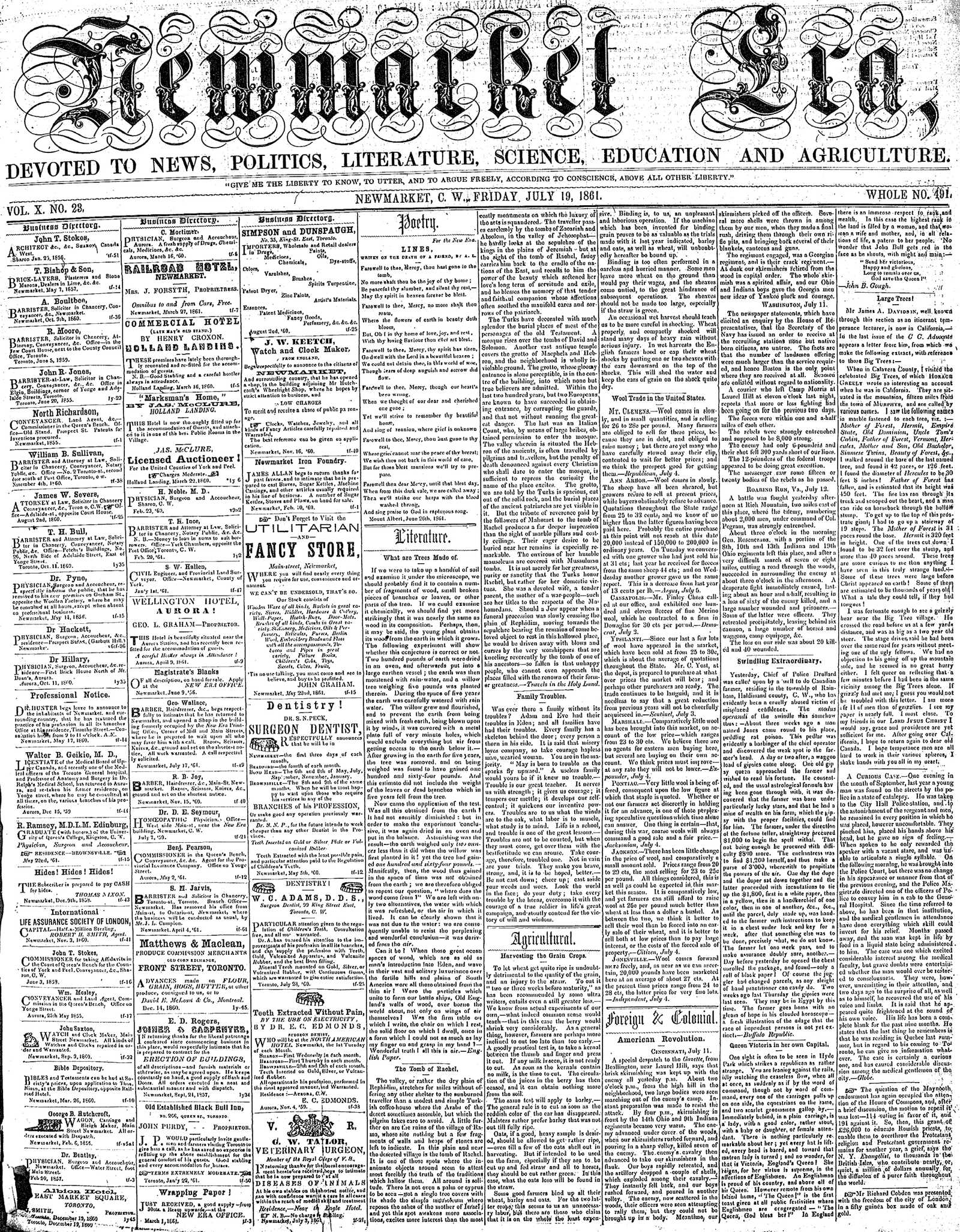 Newmarket Era (Newmarket, ON1861), July 19, 1861