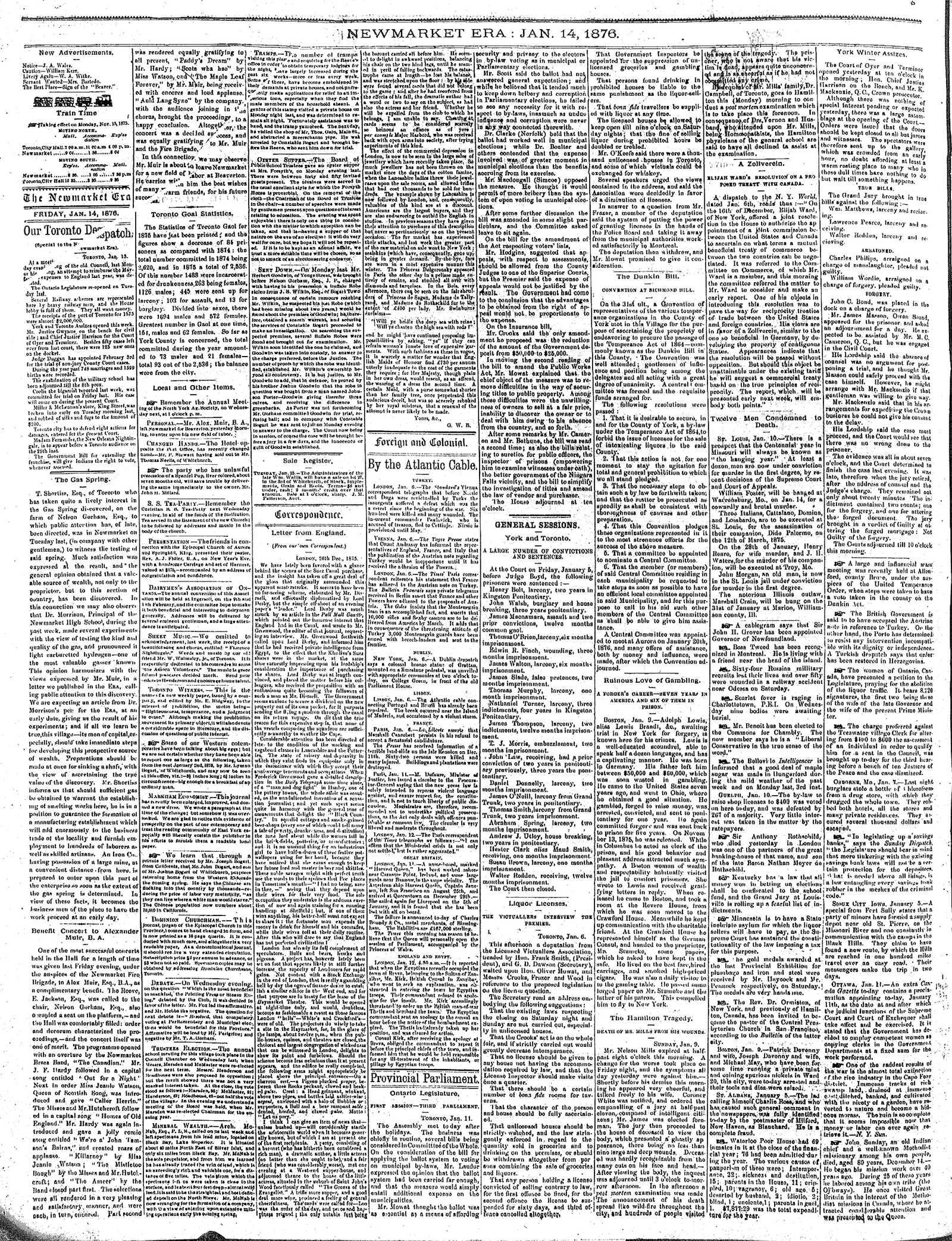 Newmarket Era (Newmarket, ON1861), January 14, 1876