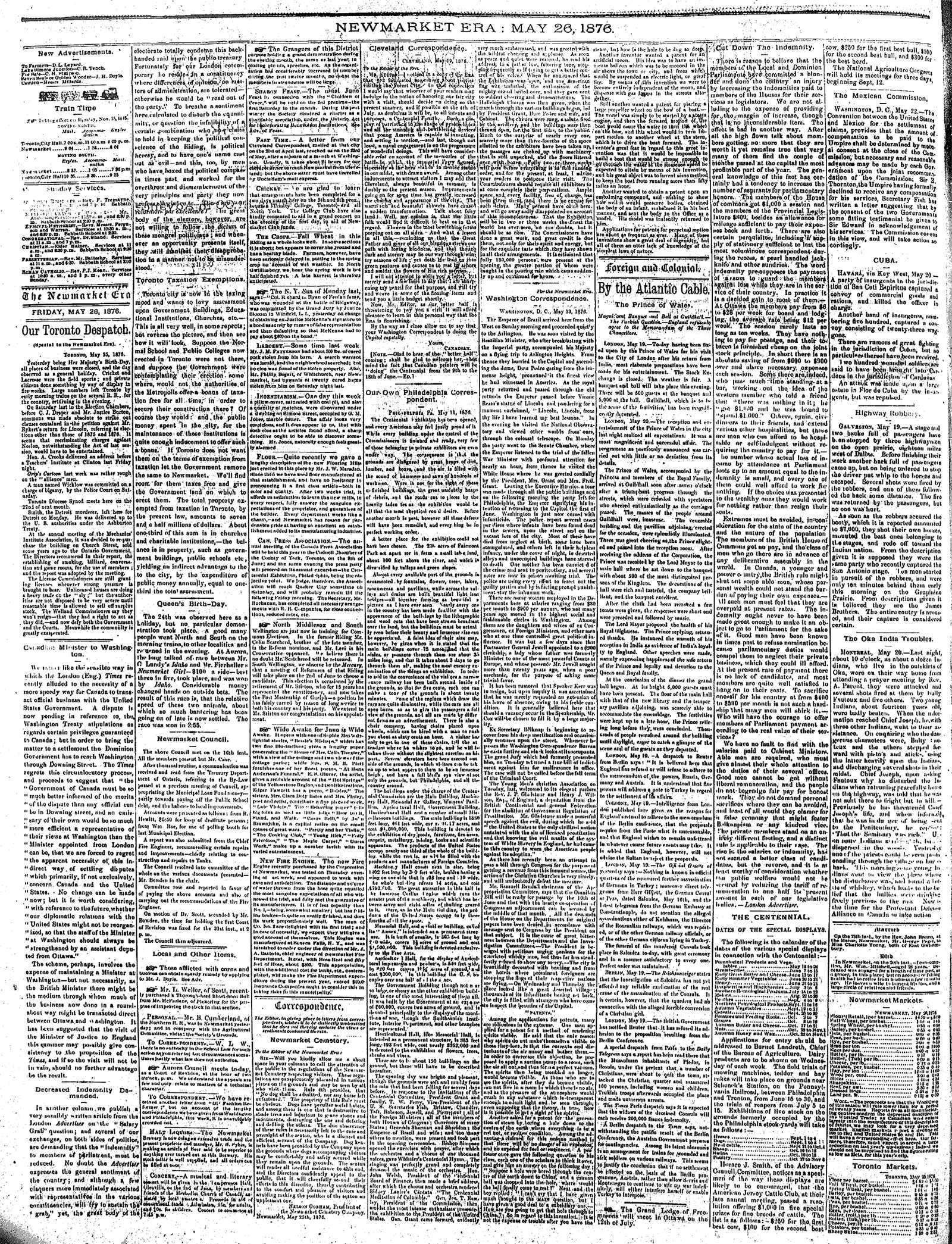 Newmarket Era (Newmarket, ON1861), May 26, 1876