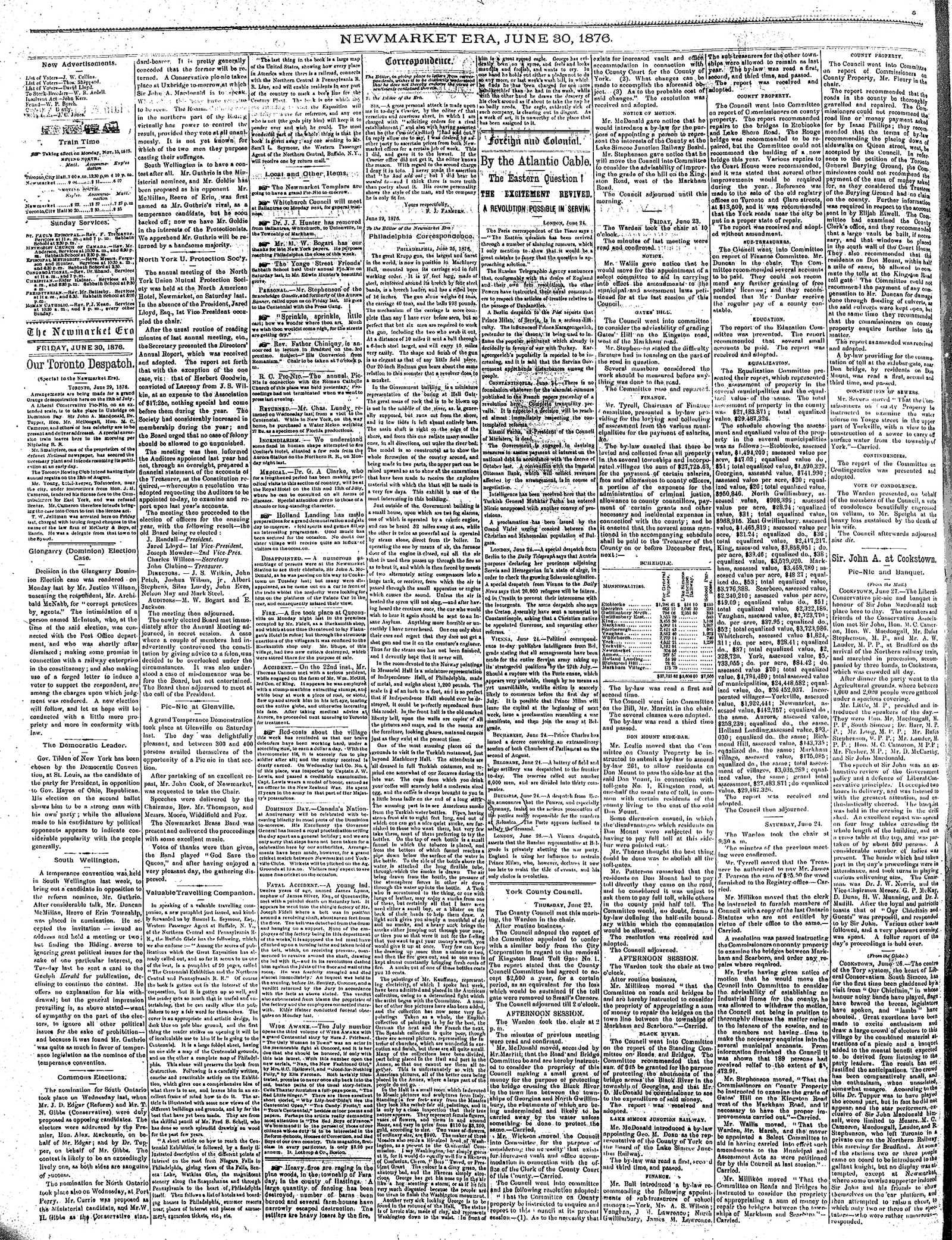 Newmarket Era (Newmarket, ON1861), June 30, 1876