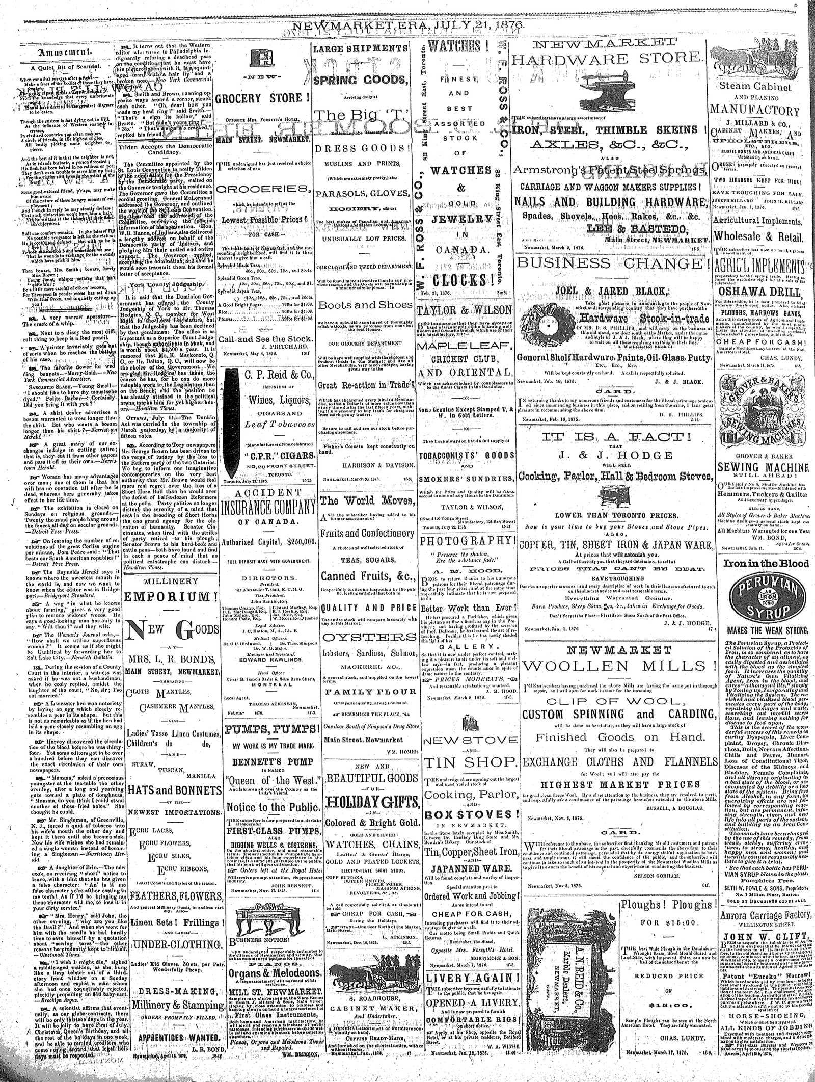 Newmarket Era (Newmarket, ON1861), July 21, 1876
