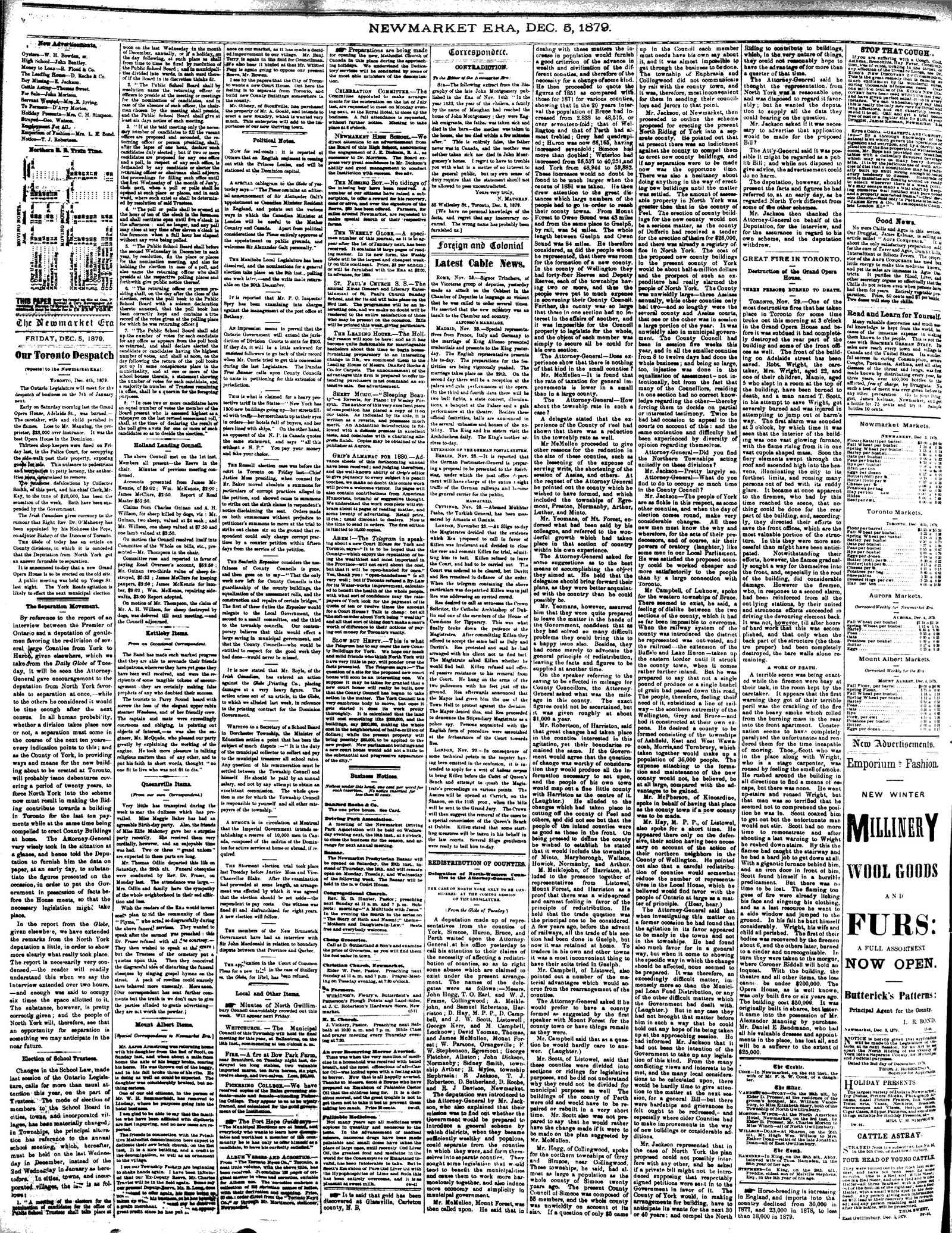 Newmarket Era (Newmarket, ON1861), December 5, 1879