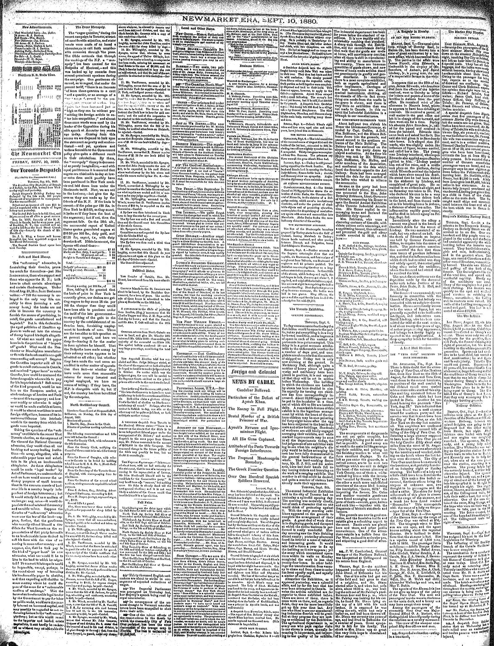 Newmarket Era (Newmarket, ON1861), September 10, 1880