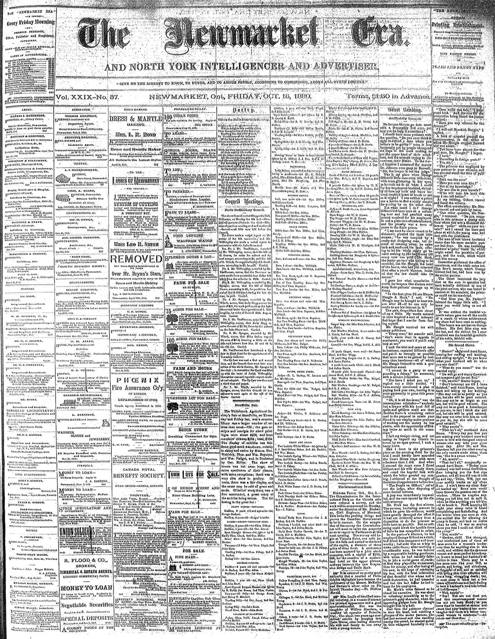 Newmarket Era (Newmarket, ON1861), October 15, 1880
