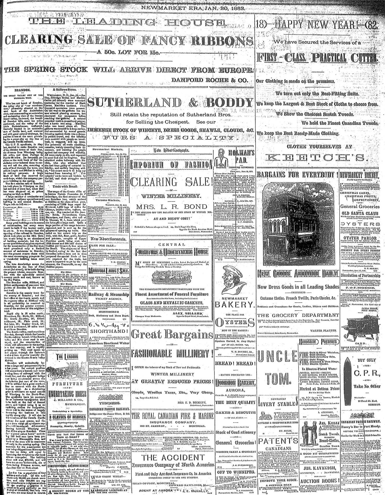 Newmarket Era (Newmarket, ON1861), January 20, 1882