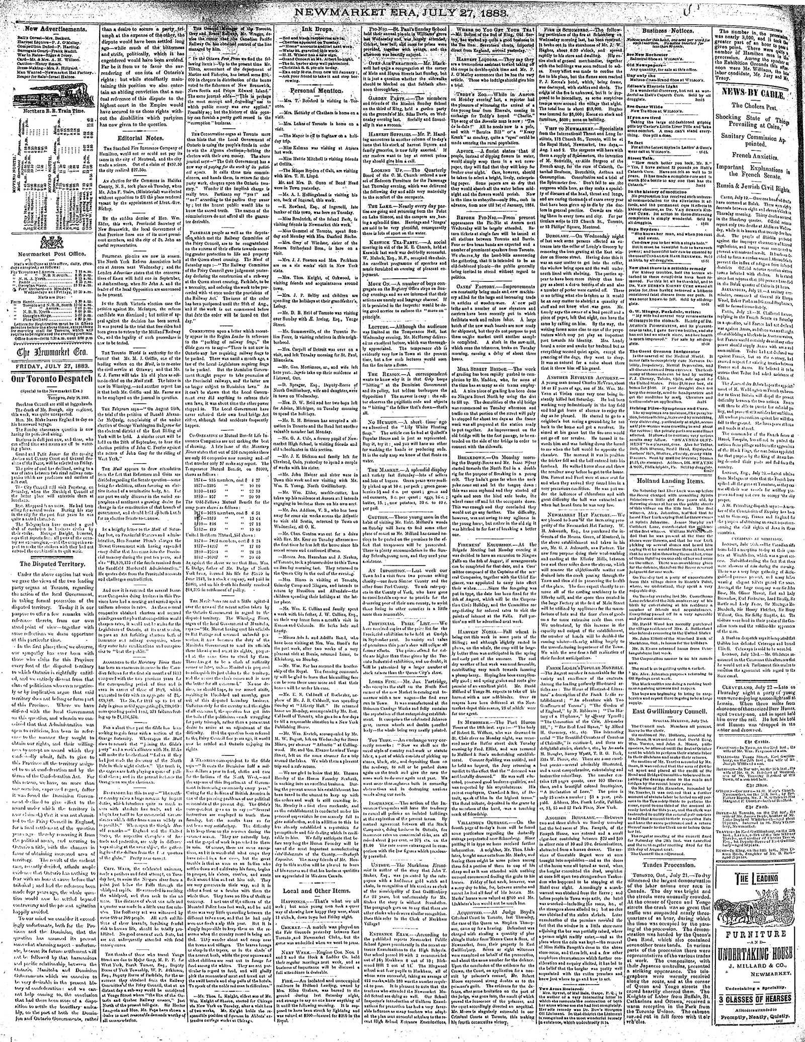 Newmarket Era (Newmarket, ON1861), July 27, 1883