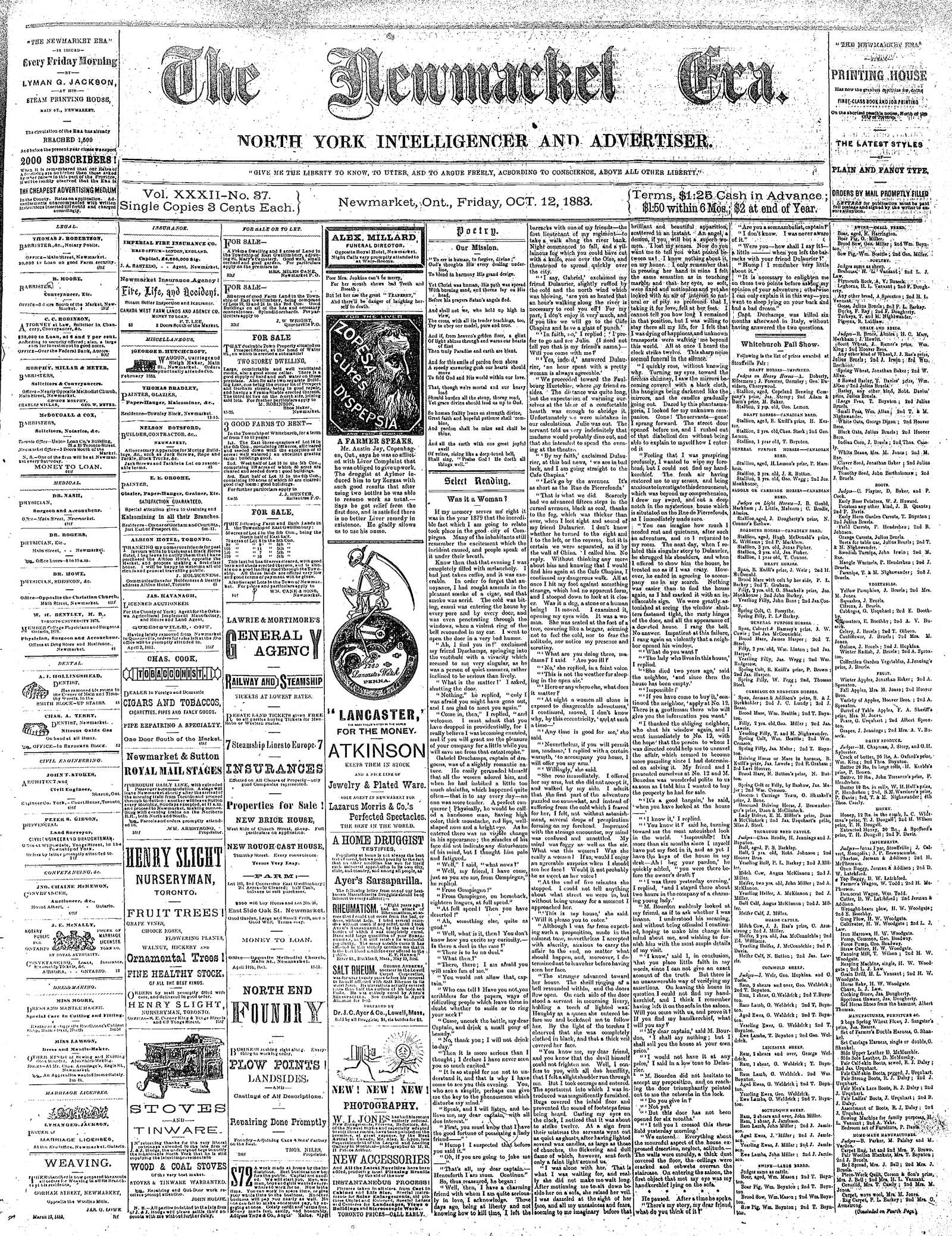 Newmarket Era (Newmarket, ON1861), October 12, 1883