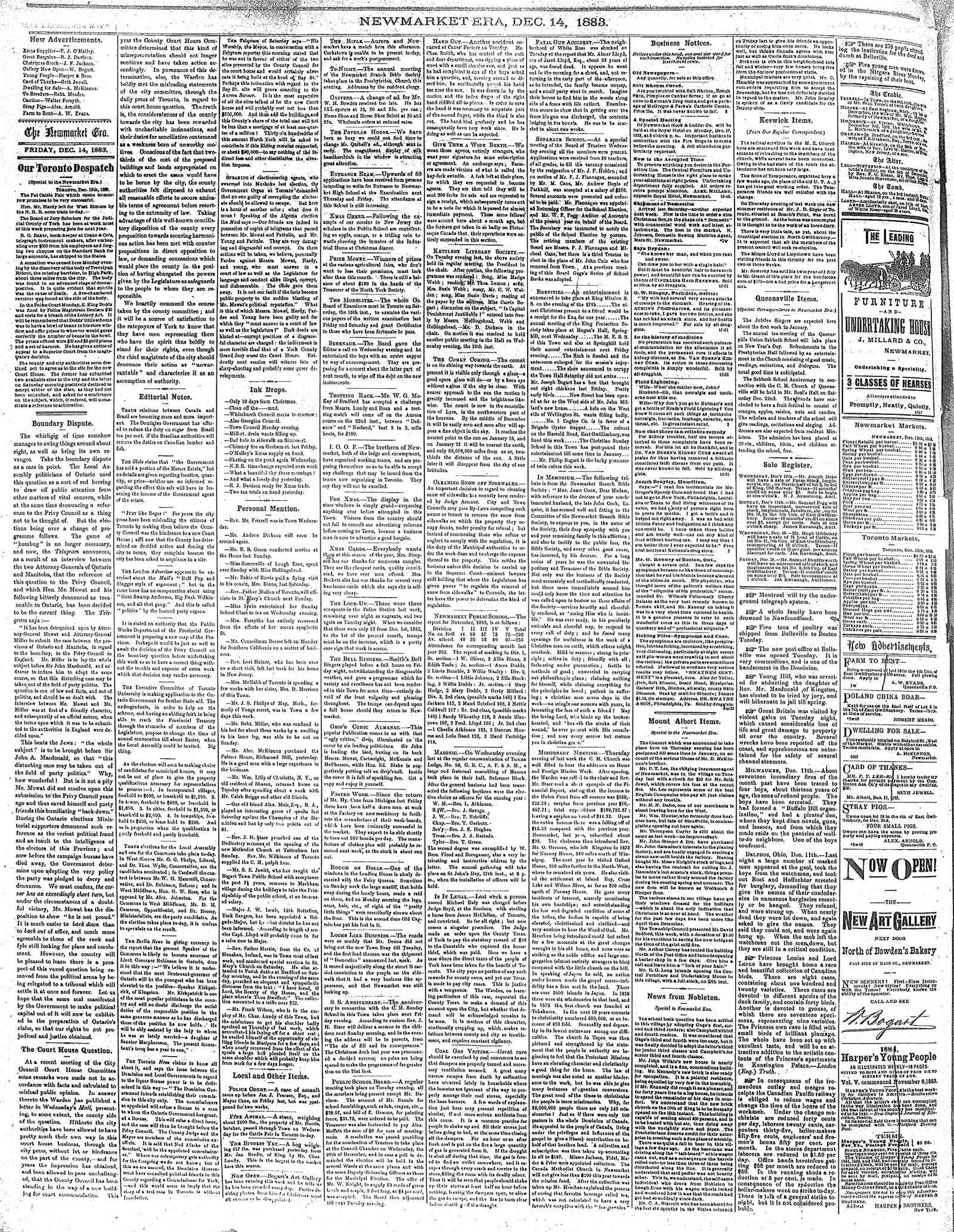 Newmarket Era (Newmarket, ON1861), December 14, 1883