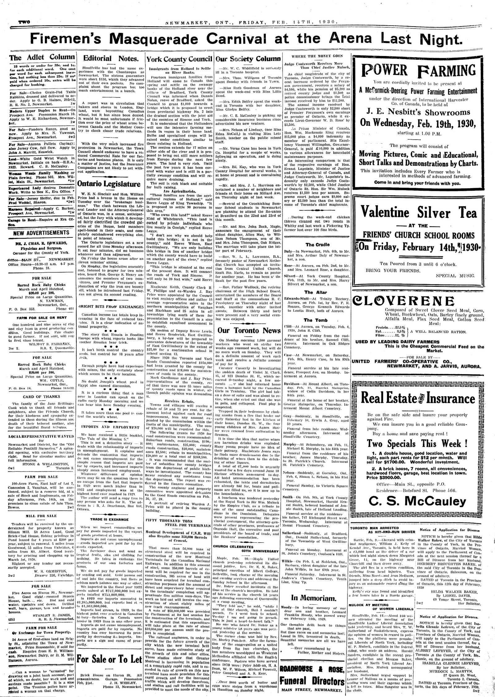 Newmarket Era (Newmarket, ON1861), February 14, 1930