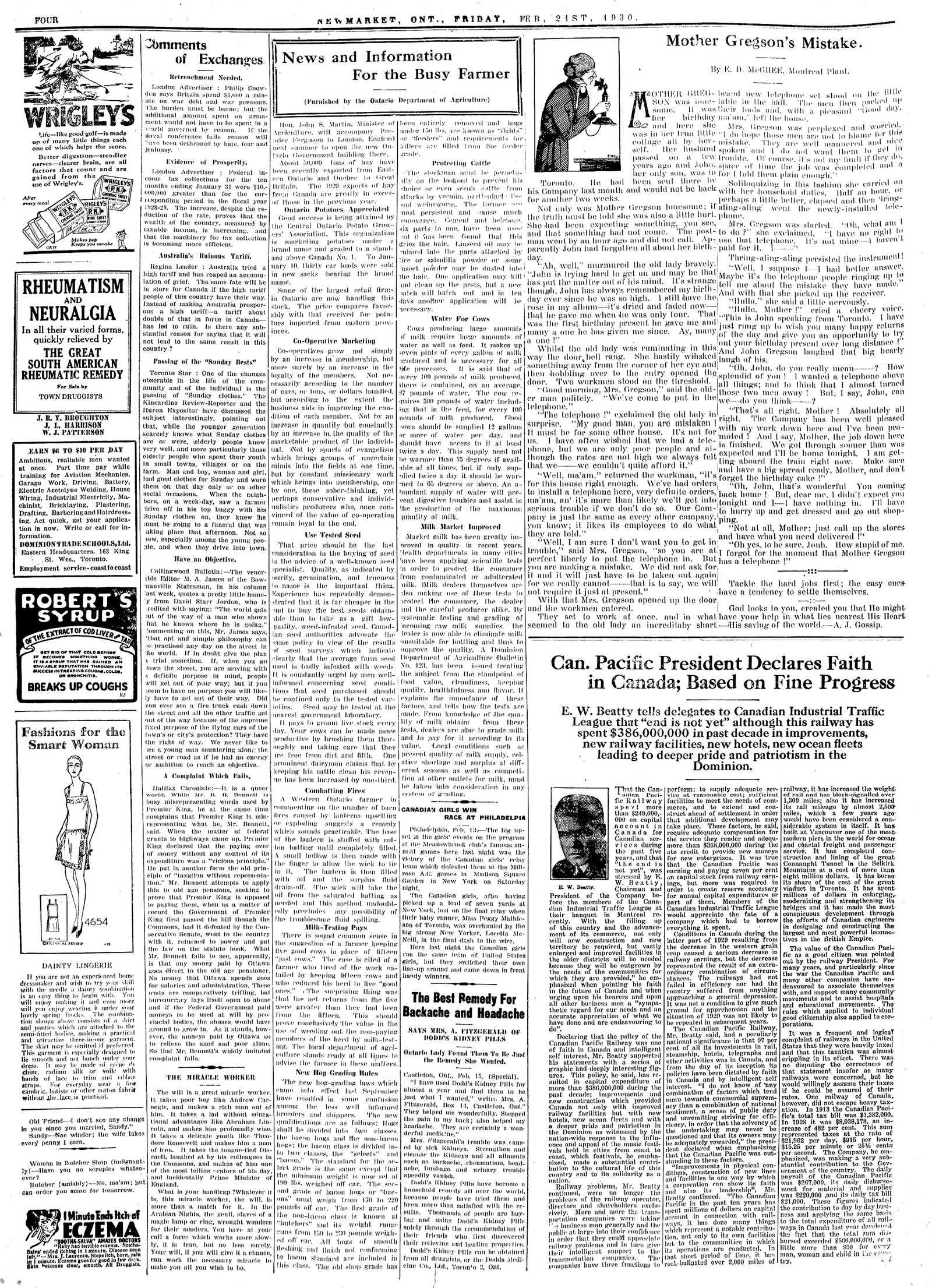 Newmarket Era (Newmarket, ON1861), February 21, 1930