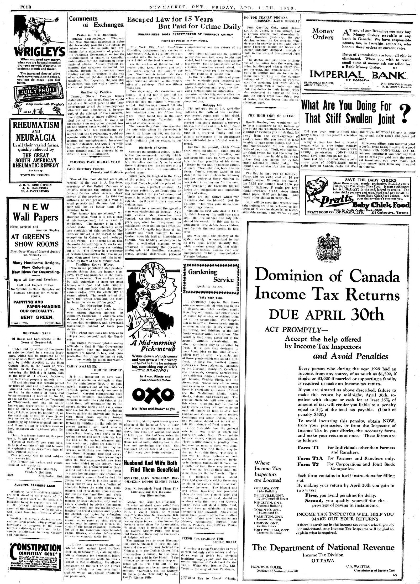 Newmarket Era (Newmarket, ON1861), April 11, 1930