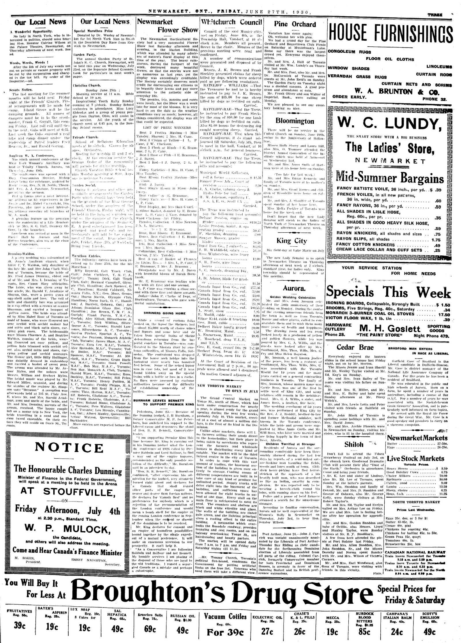 Newmarket Era (Newmarket, ON1861), June 27, 1930