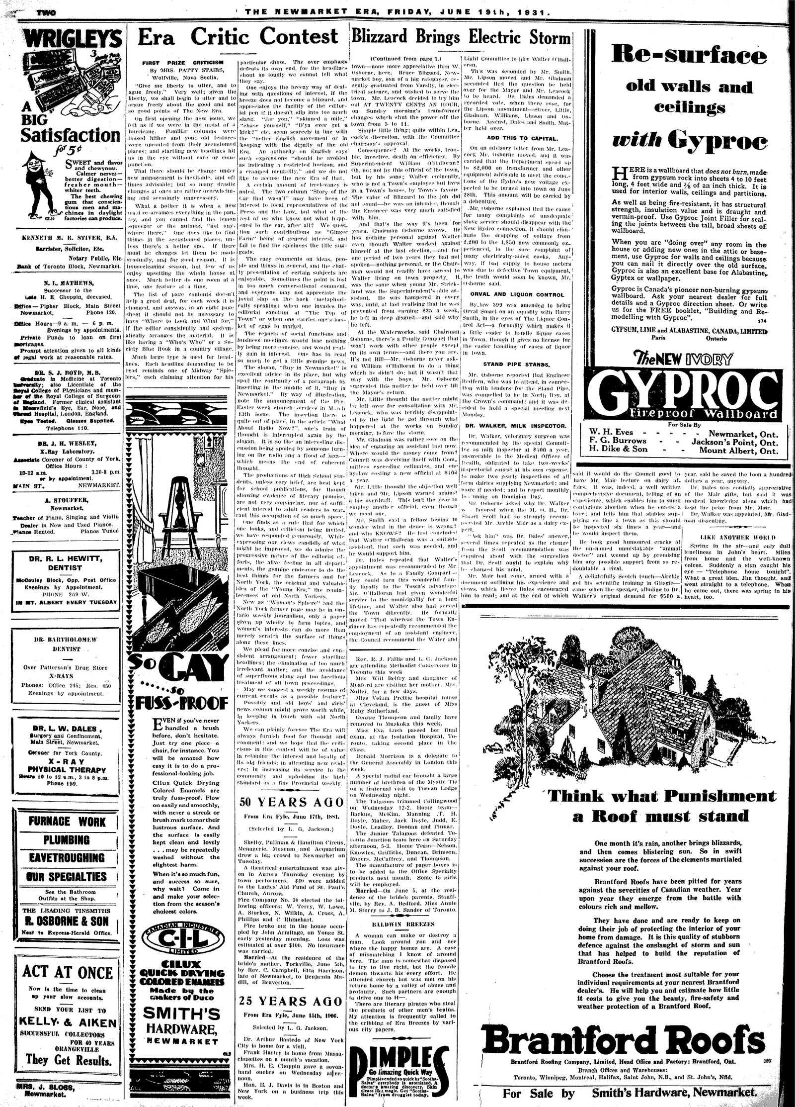 Newmarket Era (Newmarket, ON1861), June 19, 1931