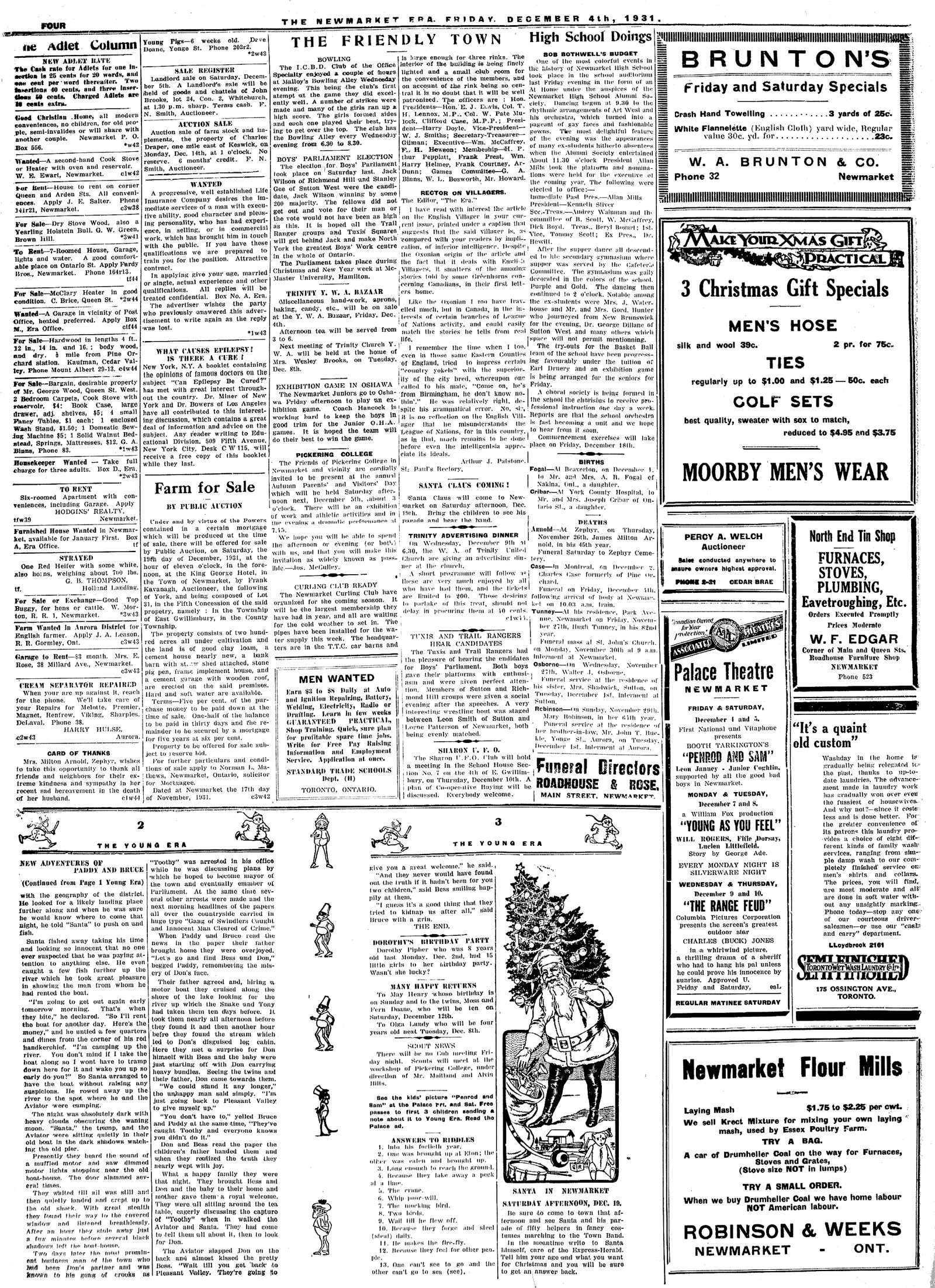 Newmarket Era (Newmarket, ON1861), December 4, 1931