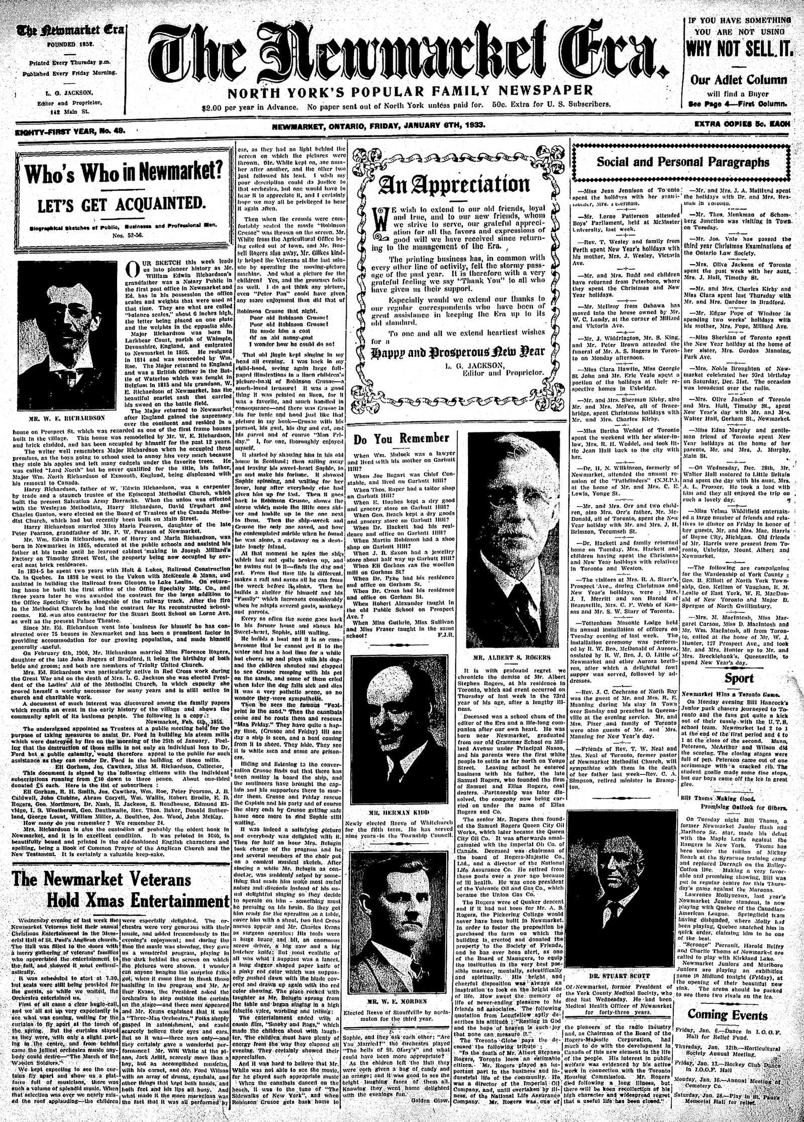 Newmarket Era (Newmarket, ON1861), January 6, 1933