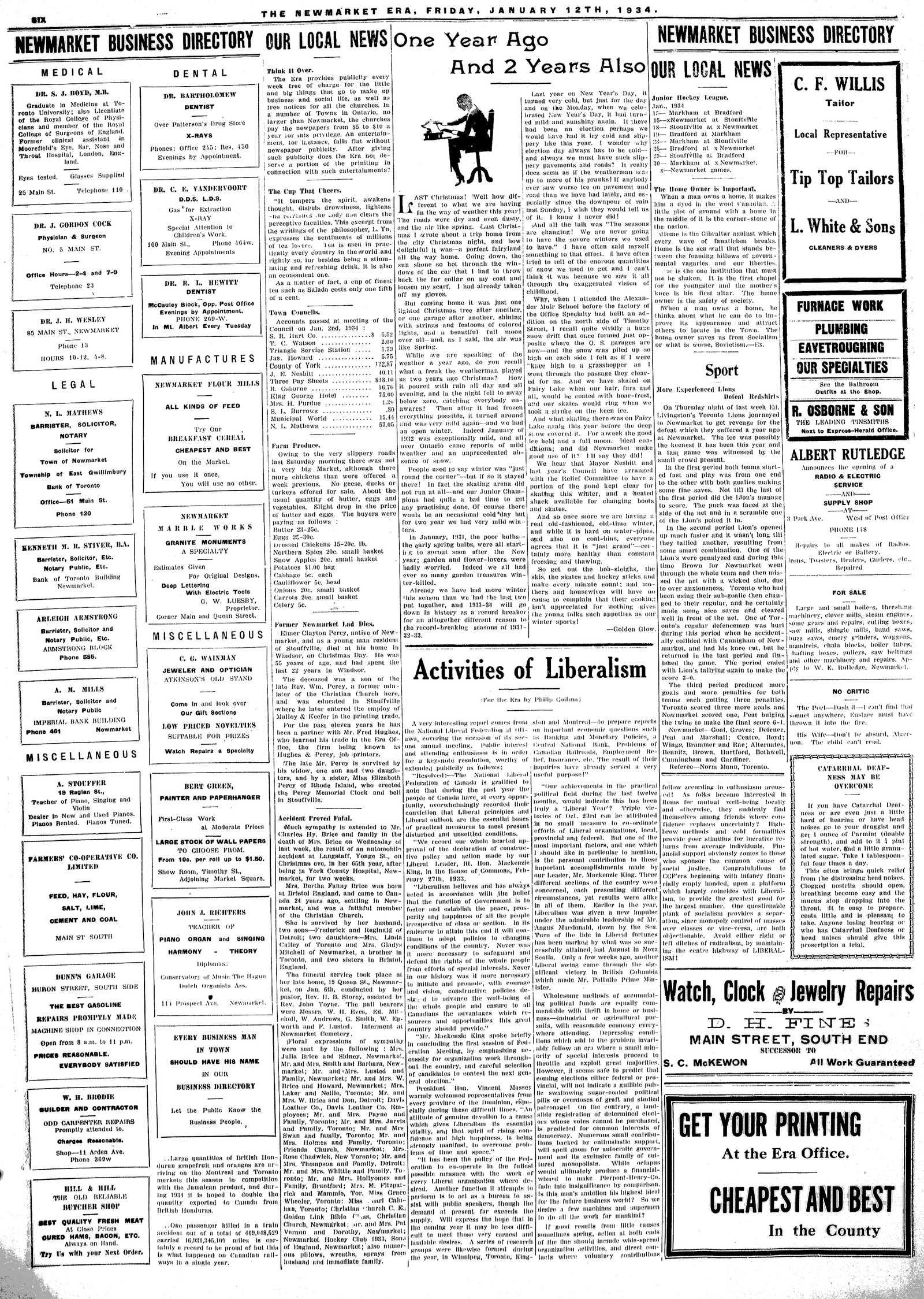 Newmarket Era (Newmarket, ON1861), January 12, 1934