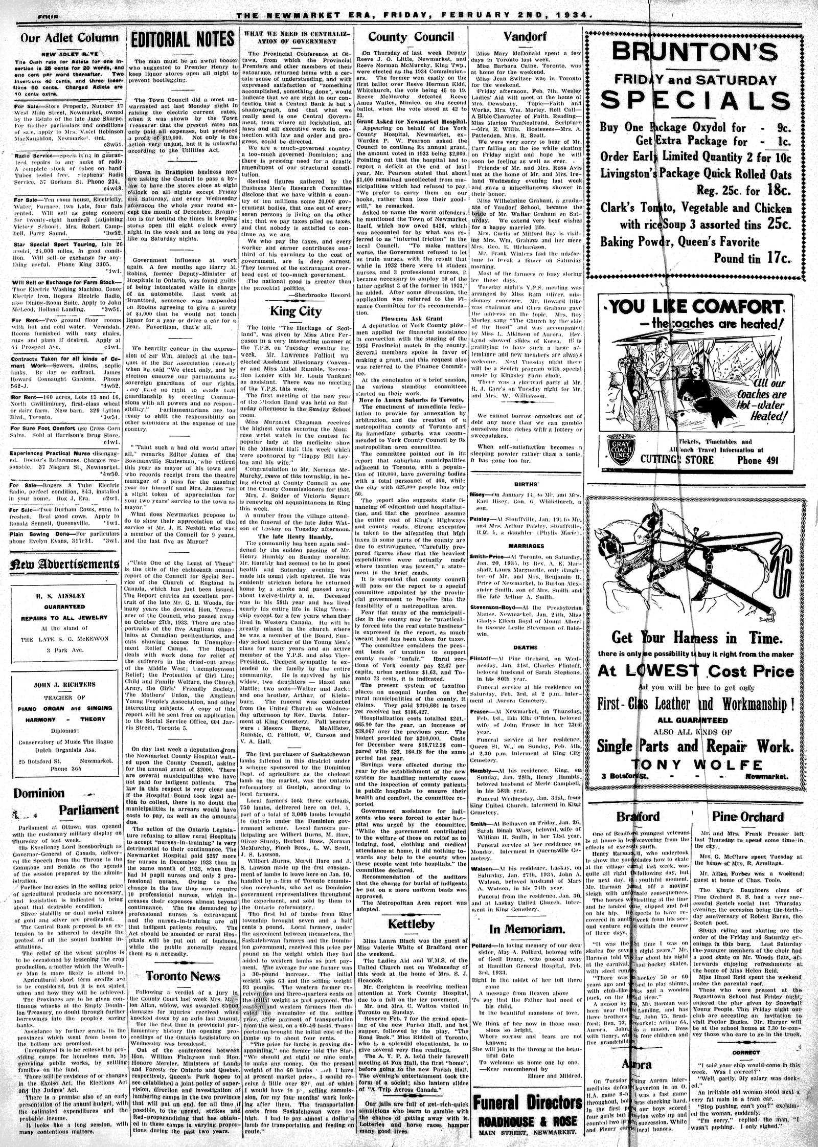 Newmarket Era (Newmarket, ON1861), February 2, 1934