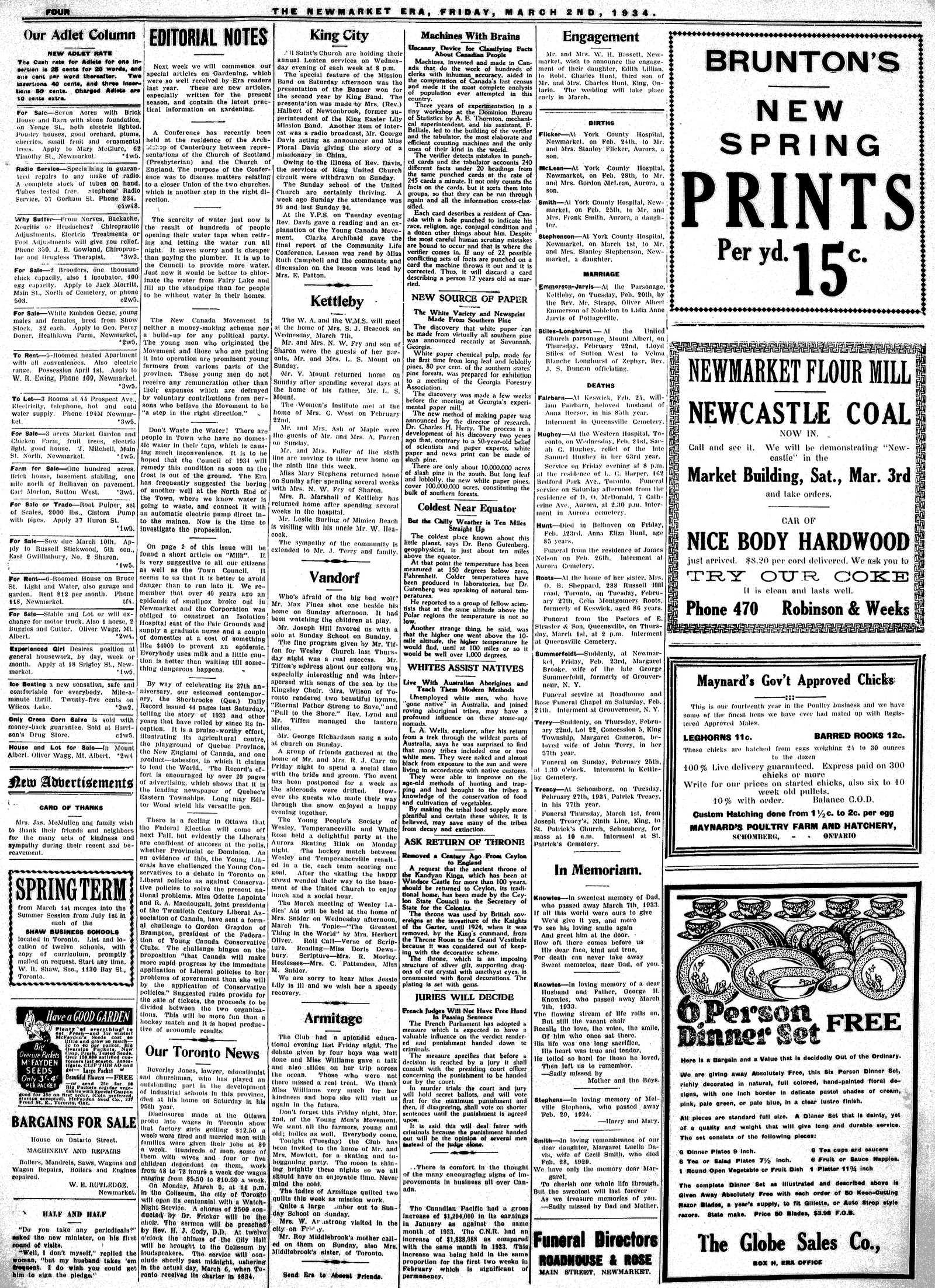 Newmarket Era (Newmarket, ON1861), March 2, 1934