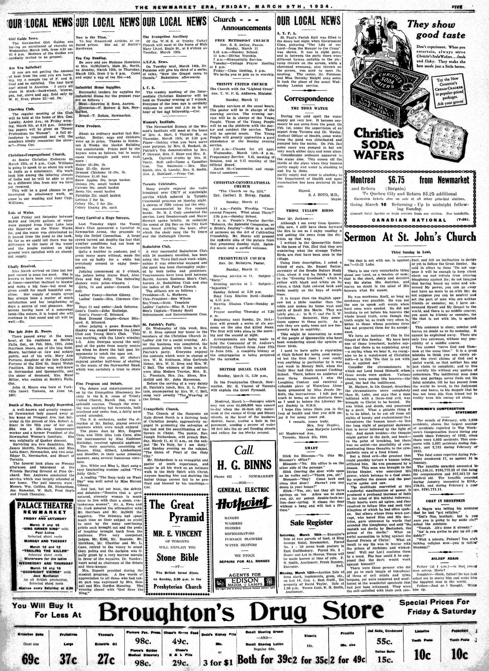 Newmarket Era (Newmarket, ON1861), March 9, 1934