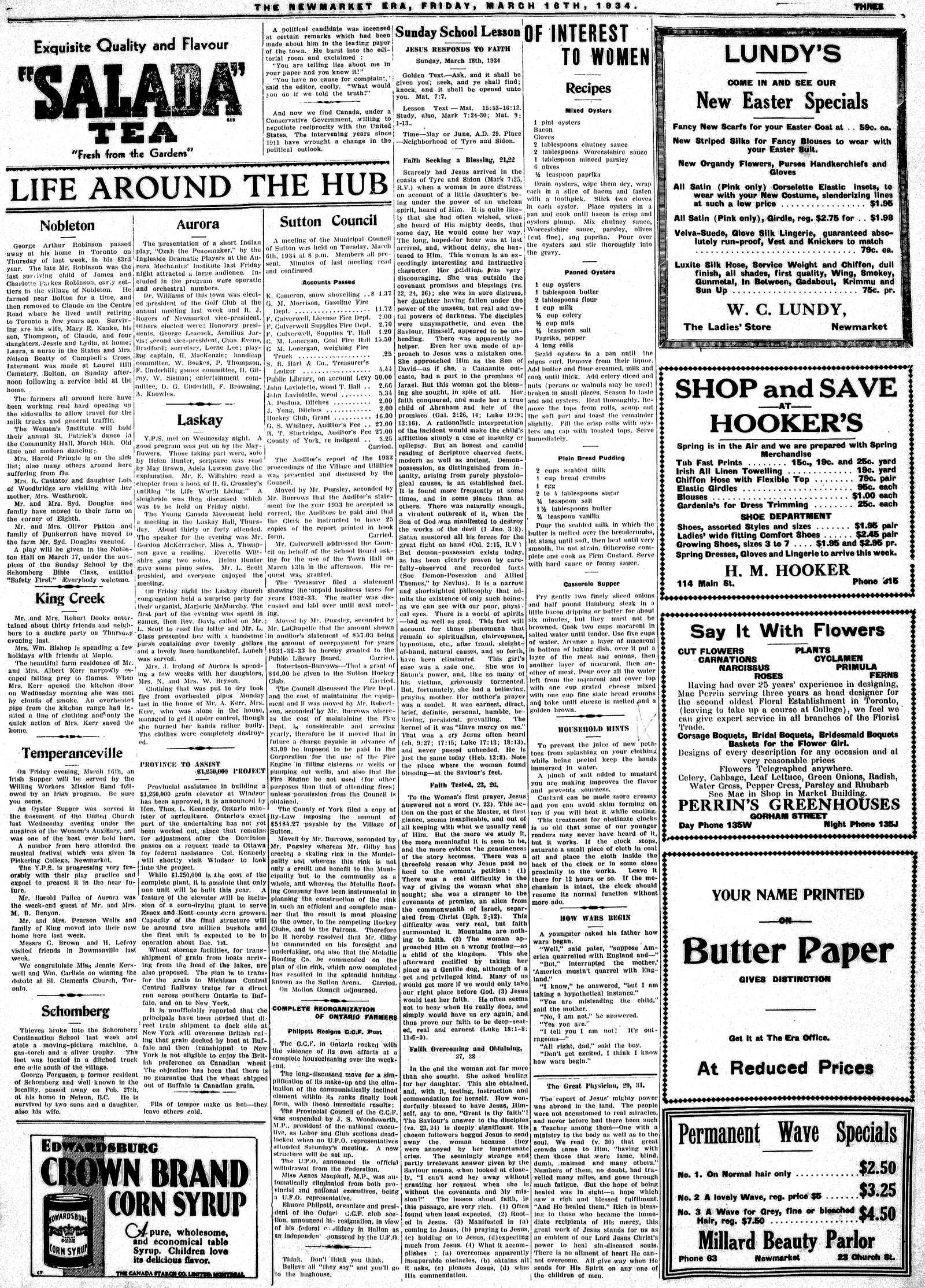 Newmarket Era (Newmarket, ON1861), March 16, 1934