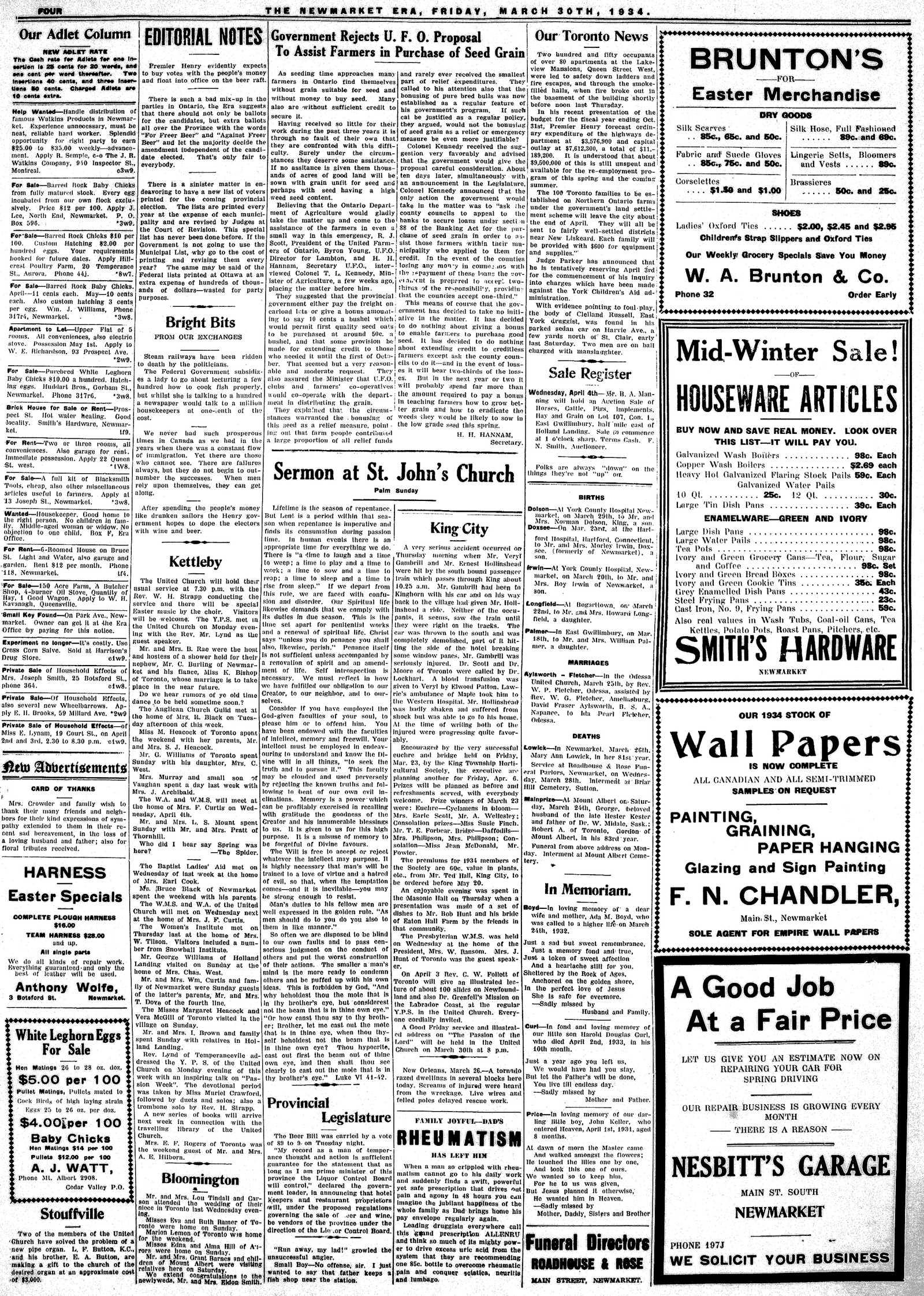Newmarket Era (Newmarket, ON1861), March 30, 1934