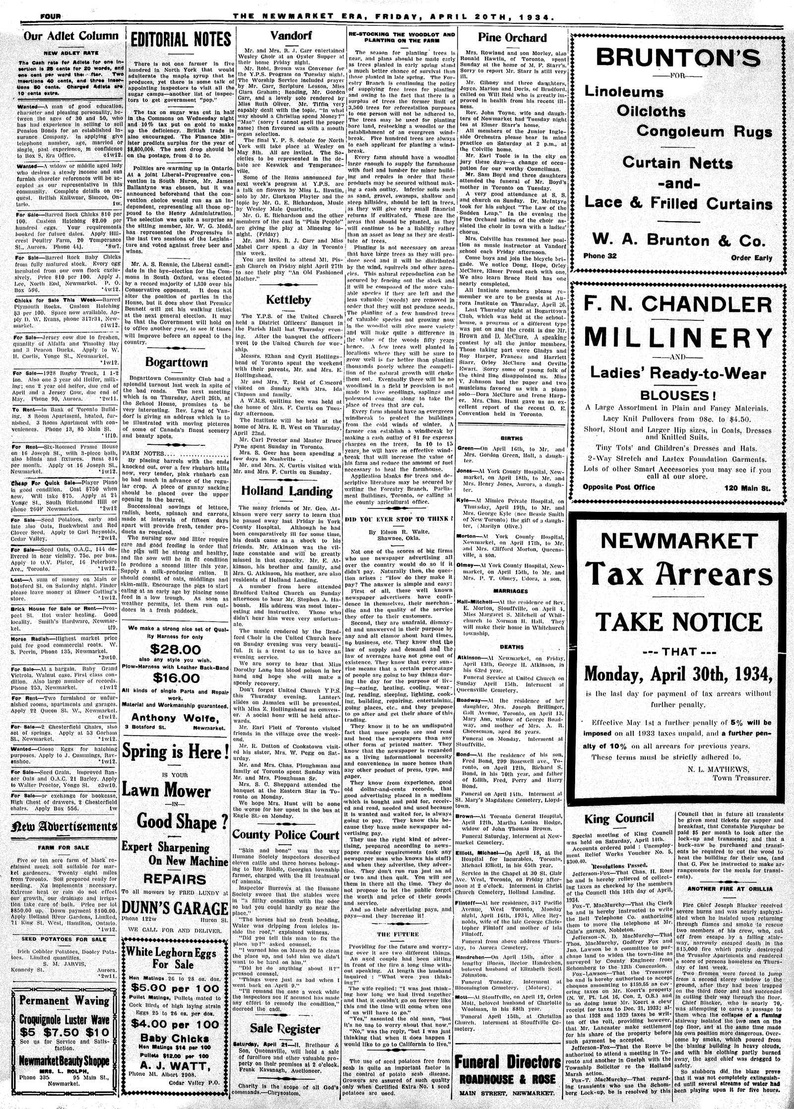 Newmarket Era (Newmarket, ON1861), April 20, 1934