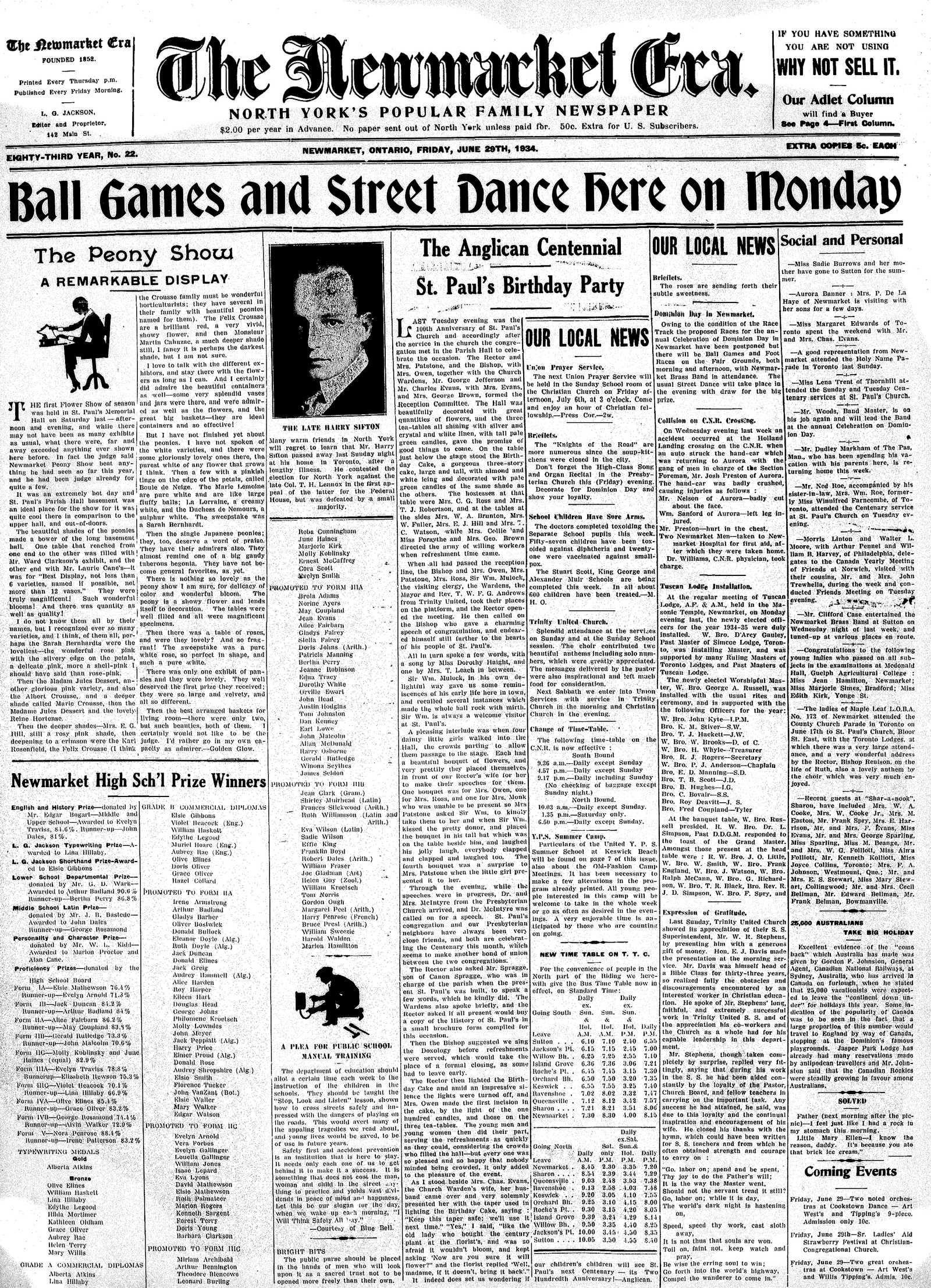 Newmarket Era (Newmarket, ON1861), June 29, 1934