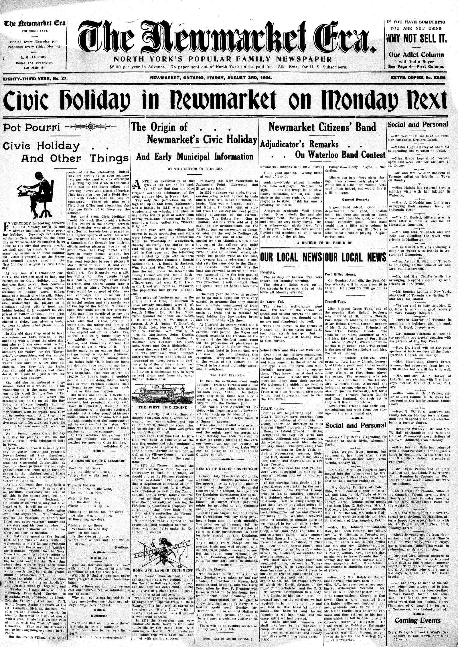 Newmarket Era (Newmarket, ON1861), August 3, 1934