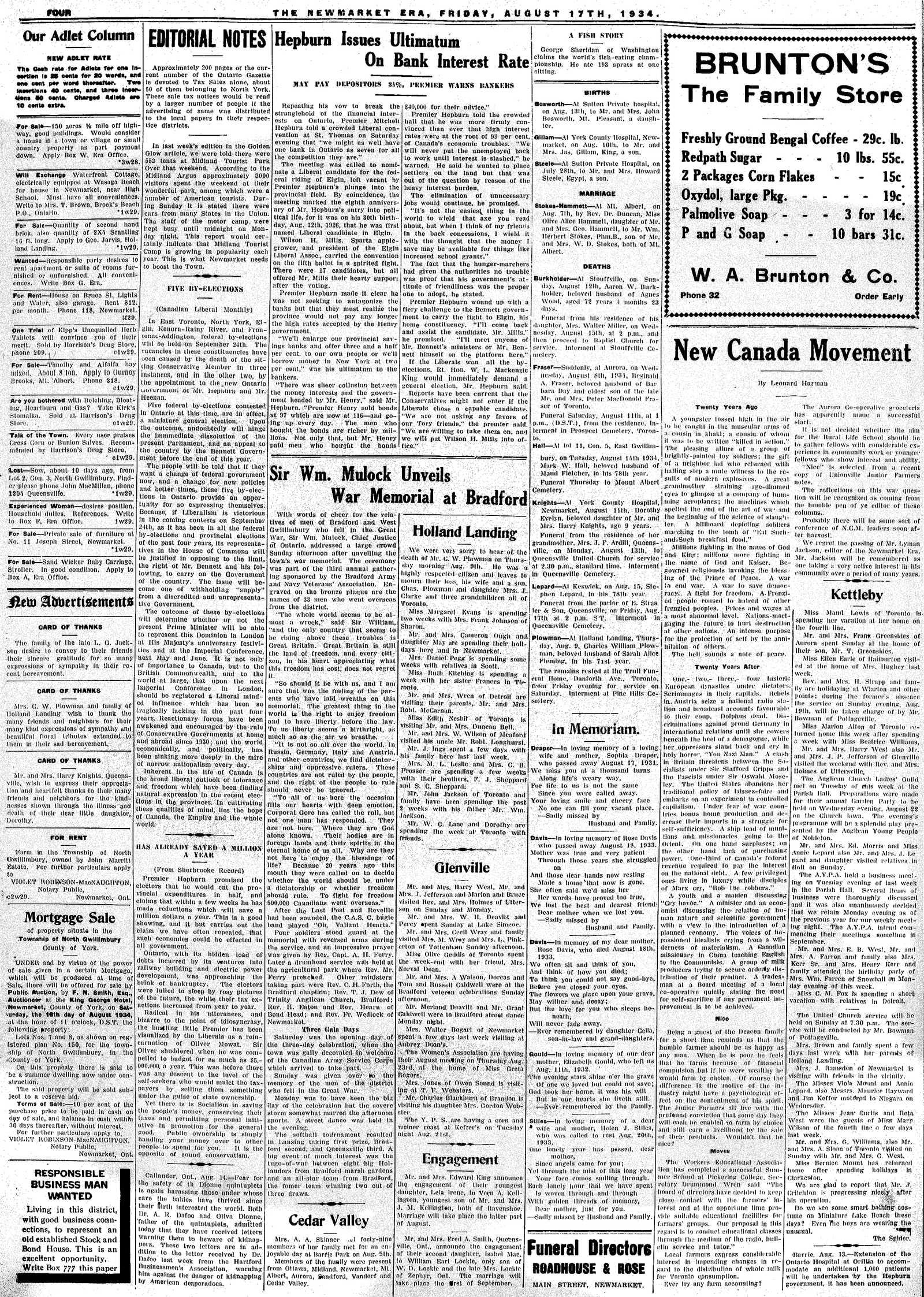 Newmarket Era (Newmarket, ON1861), August 17, 1934