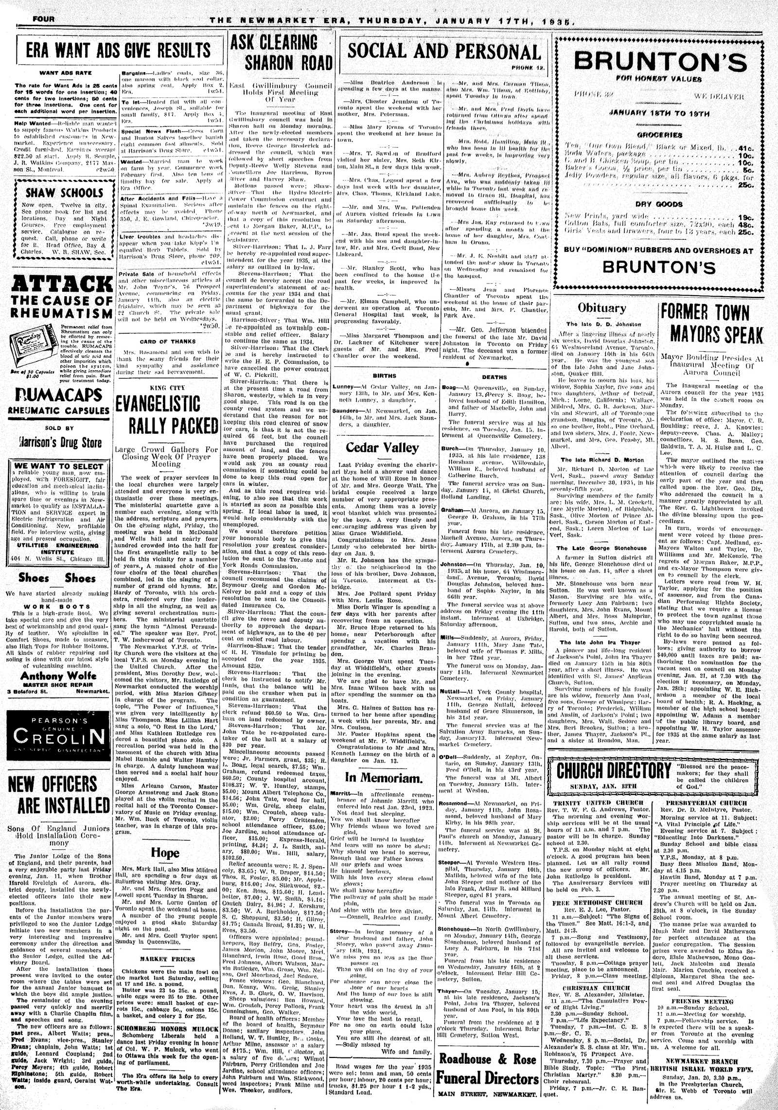 Newmarket Era (Newmarket, ON1861), January 17, 1935