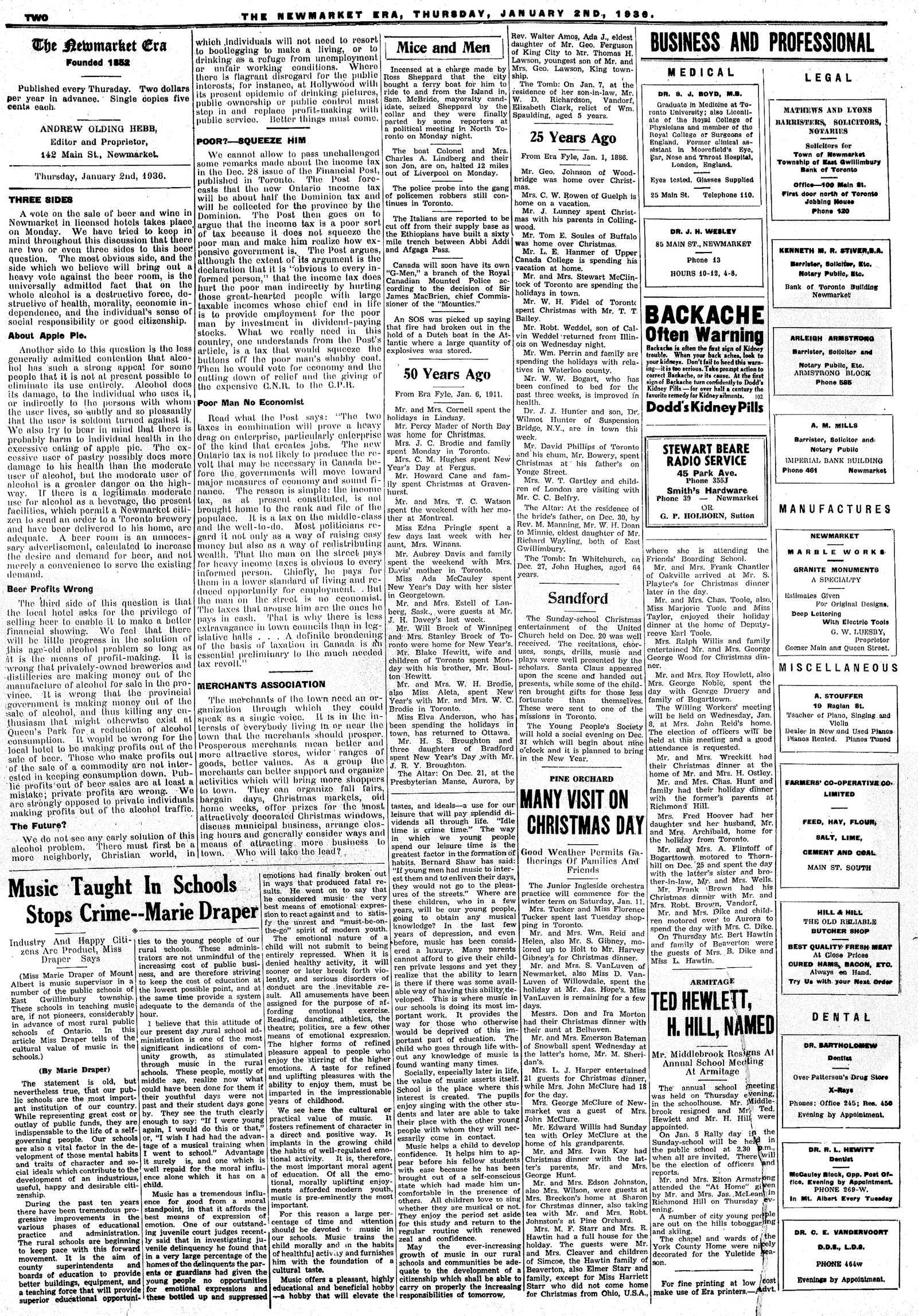 Newmarket Era (Newmarket, ON1861), January 2, 1936