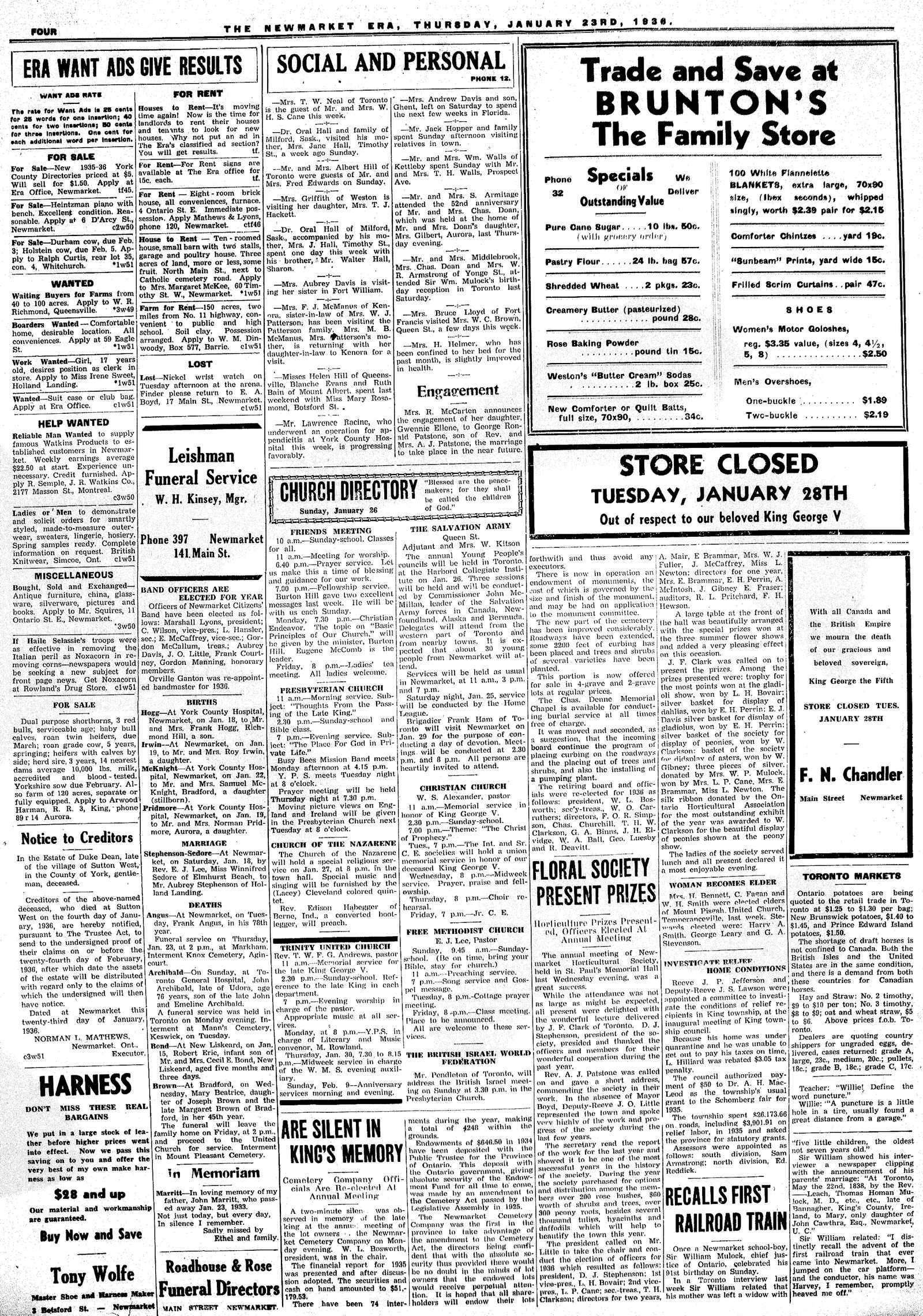 Newmarket Era (Newmarket, ON1861), January 23, 1936