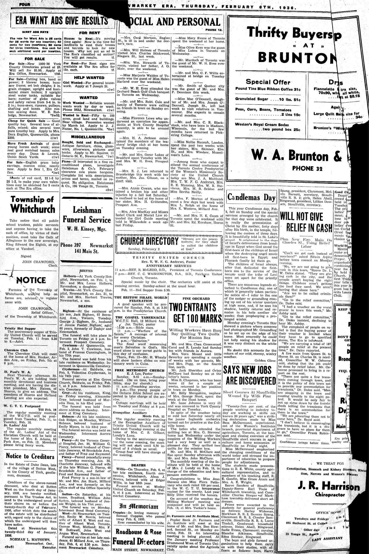 Newmarket Era (Newmarket, ON1861), February 6, 1936
