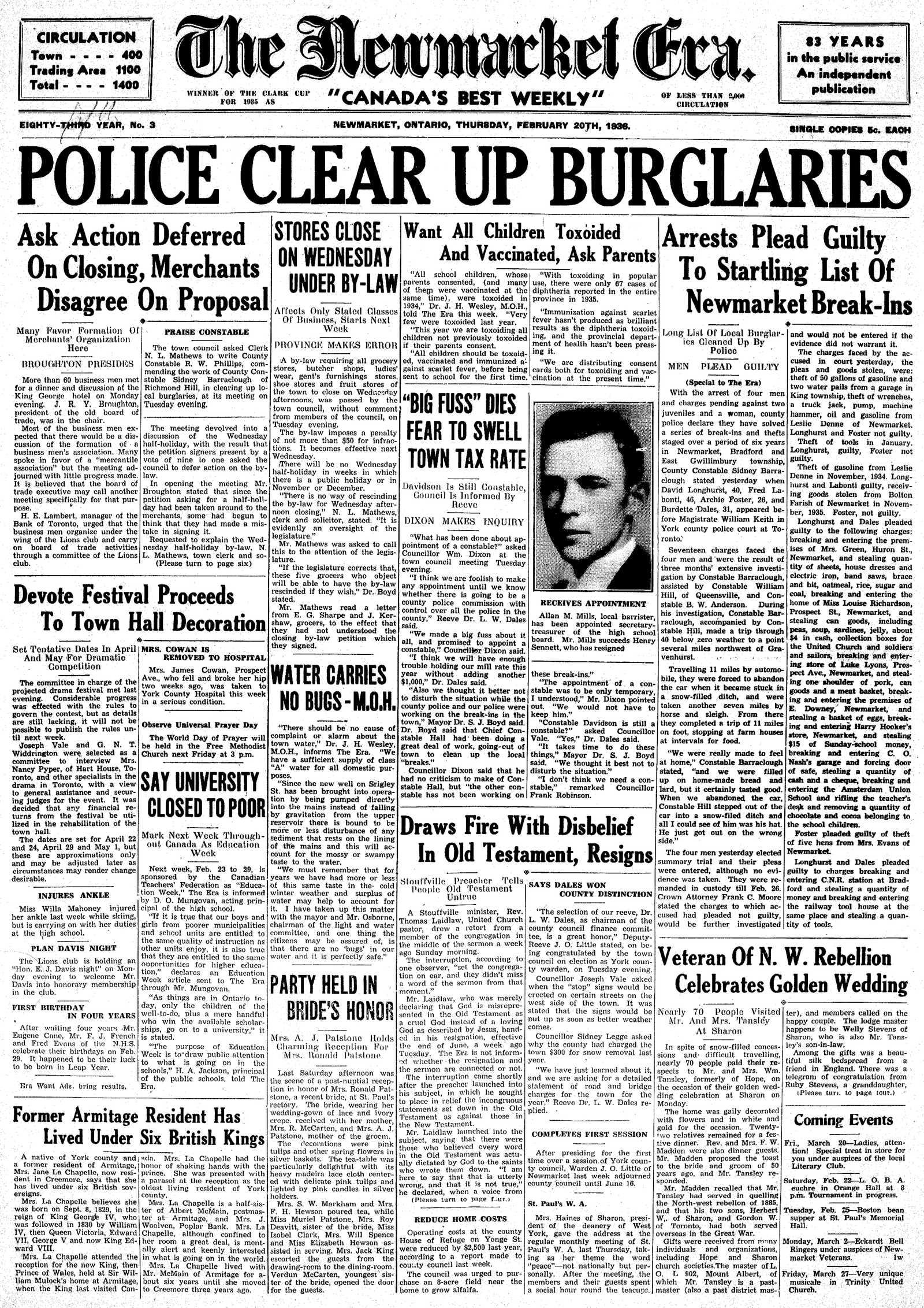 Newmarket Era (Newmarket, ON1861), February 20, 1936